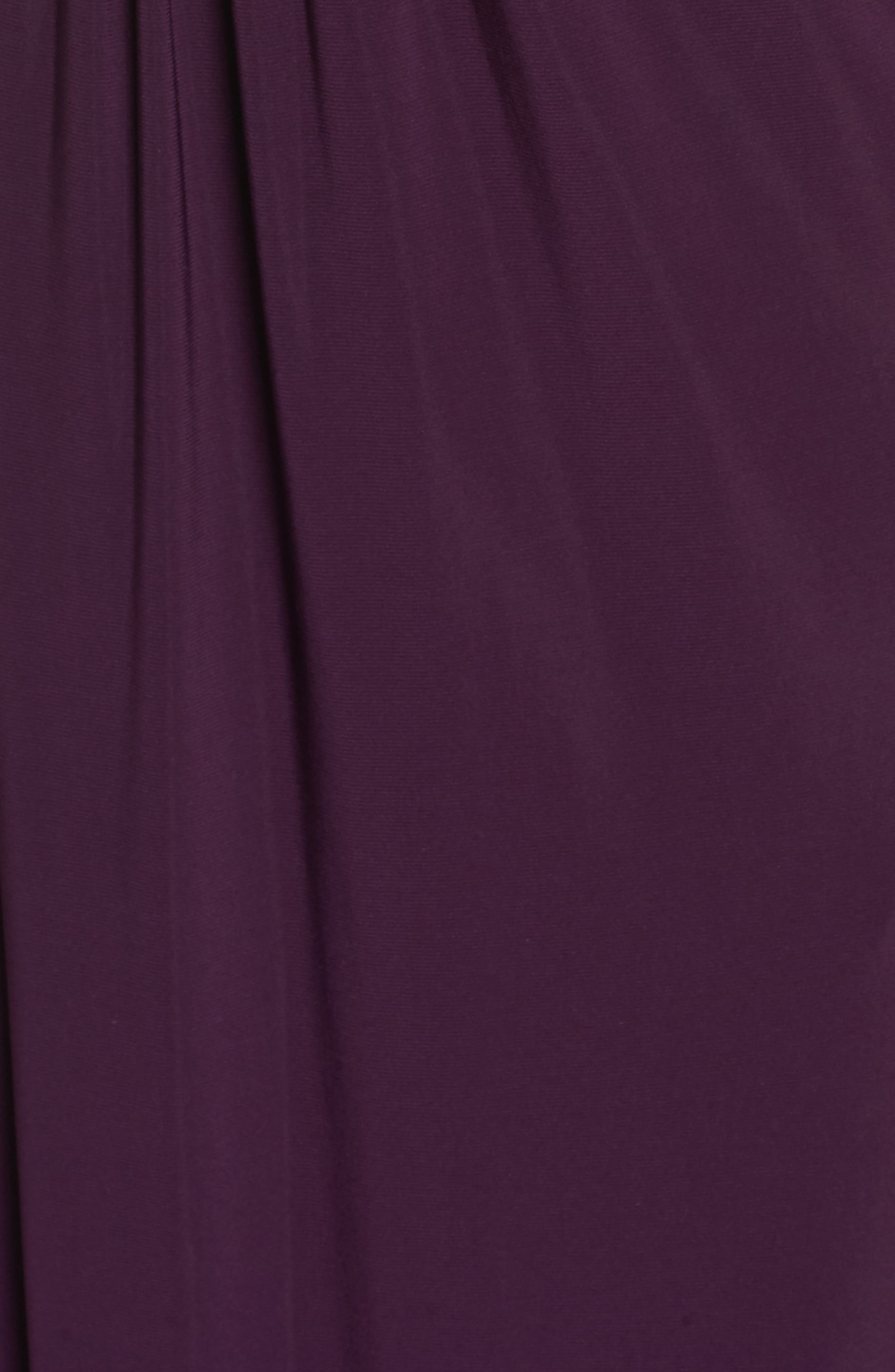 Beaded Cuff Ruched Jersey Gown,                             Alternate thumbnail 6, color,                             505