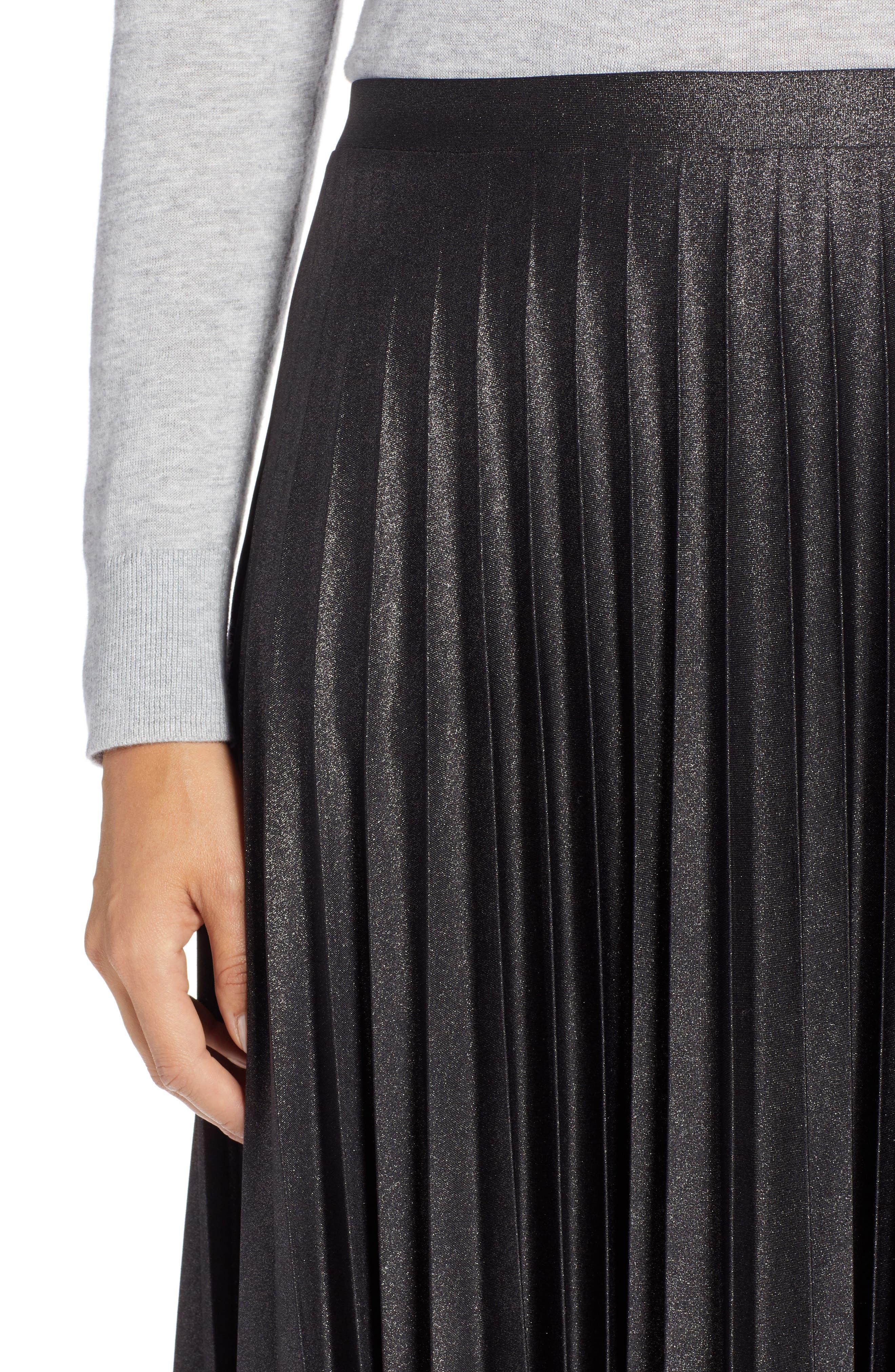 Metallic Pleat Midi Skirt,                             Alternate thumbnail 4, color,                             BLACK FOIL