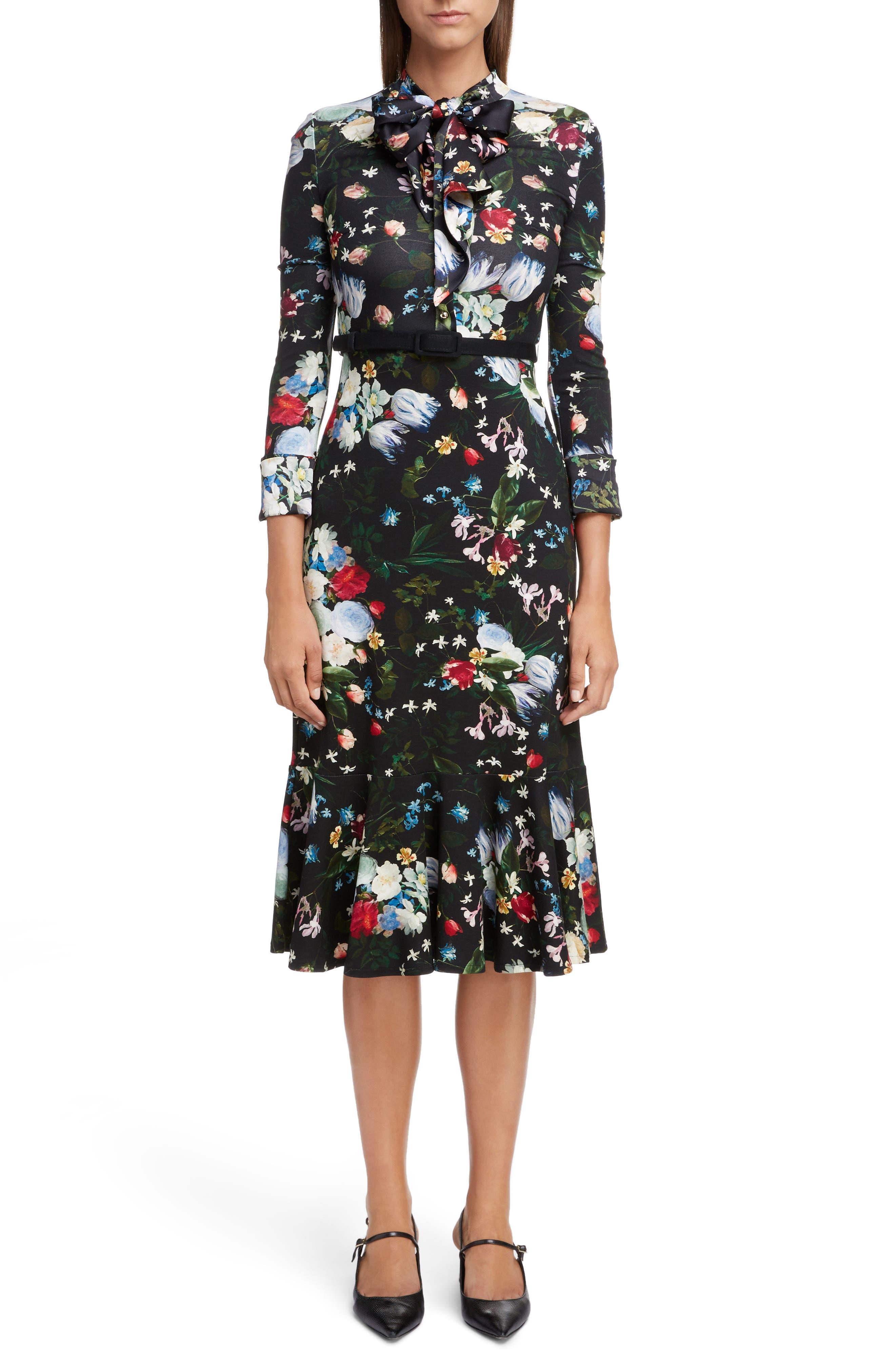 Floral Ponte Jersey Tie Neck Dress,                             Main thumbnail 1, color,                             BLACK/ MULTI