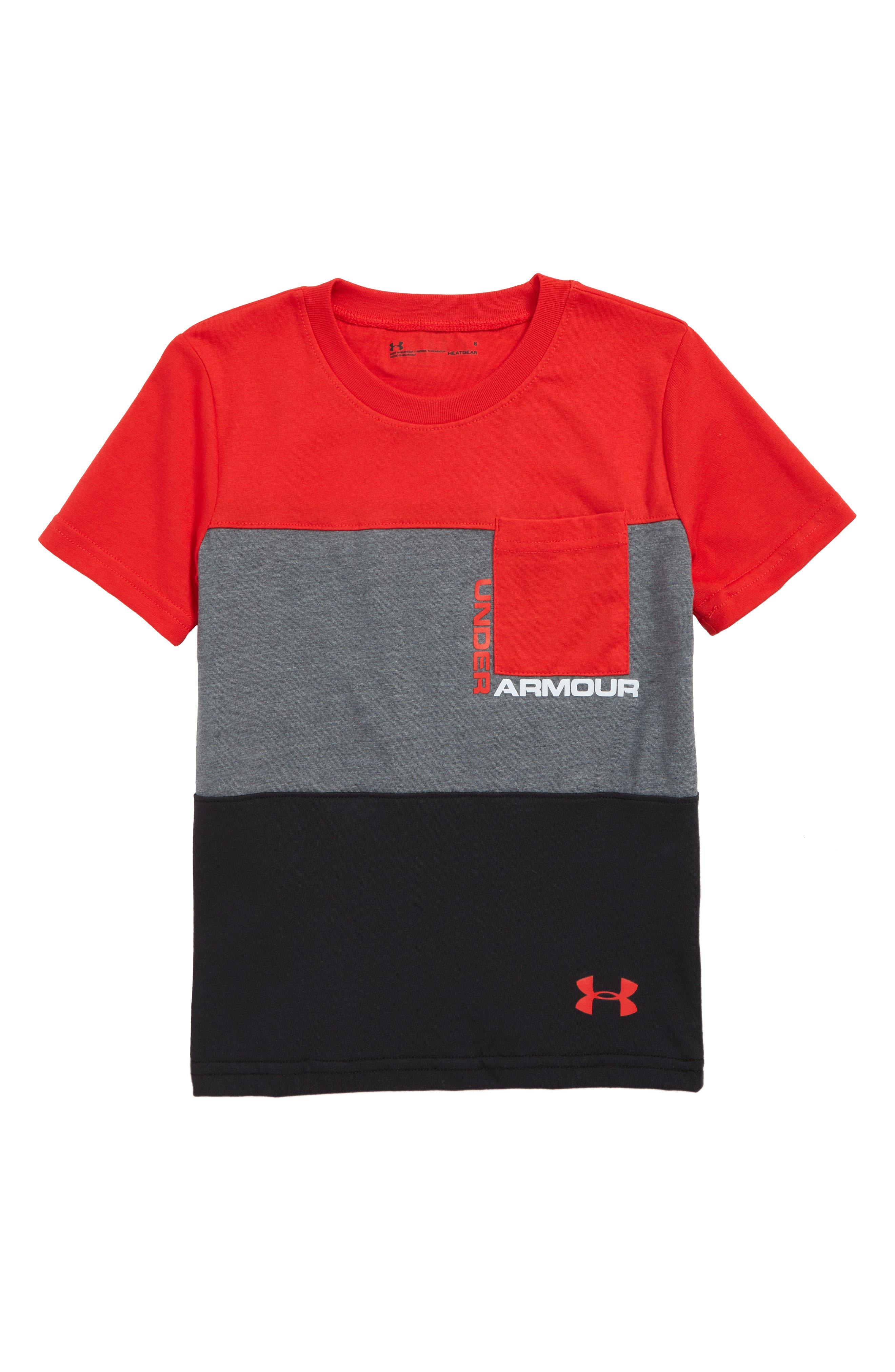 UNDER ARMOUR,                             Pieced Pocket HeatGear<sup>®</sup> T-Shirt,                             Main thumbnail 1, color,                             RED