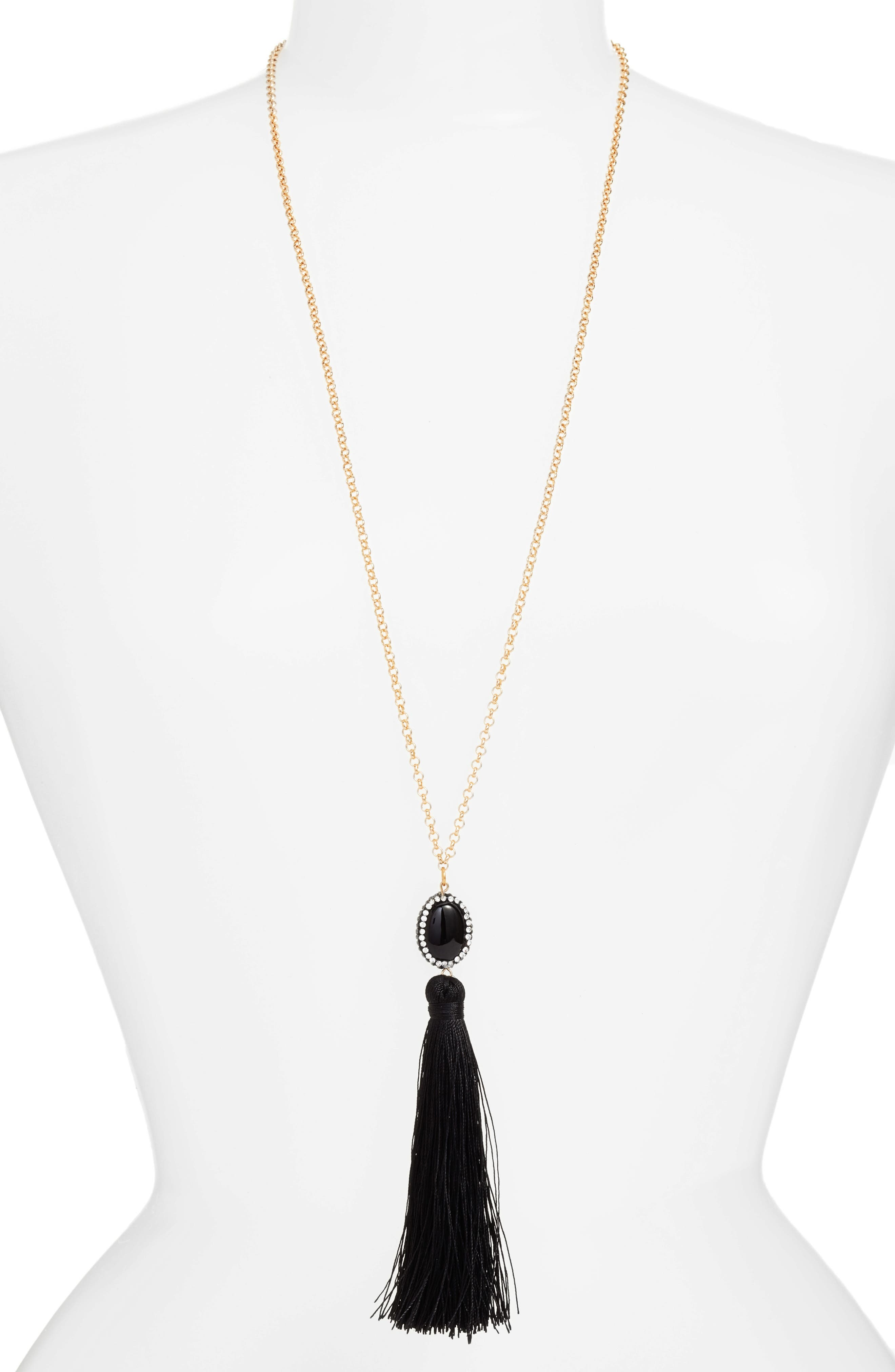 Beaded Tassel Necklace,                         Main,                         color, 001