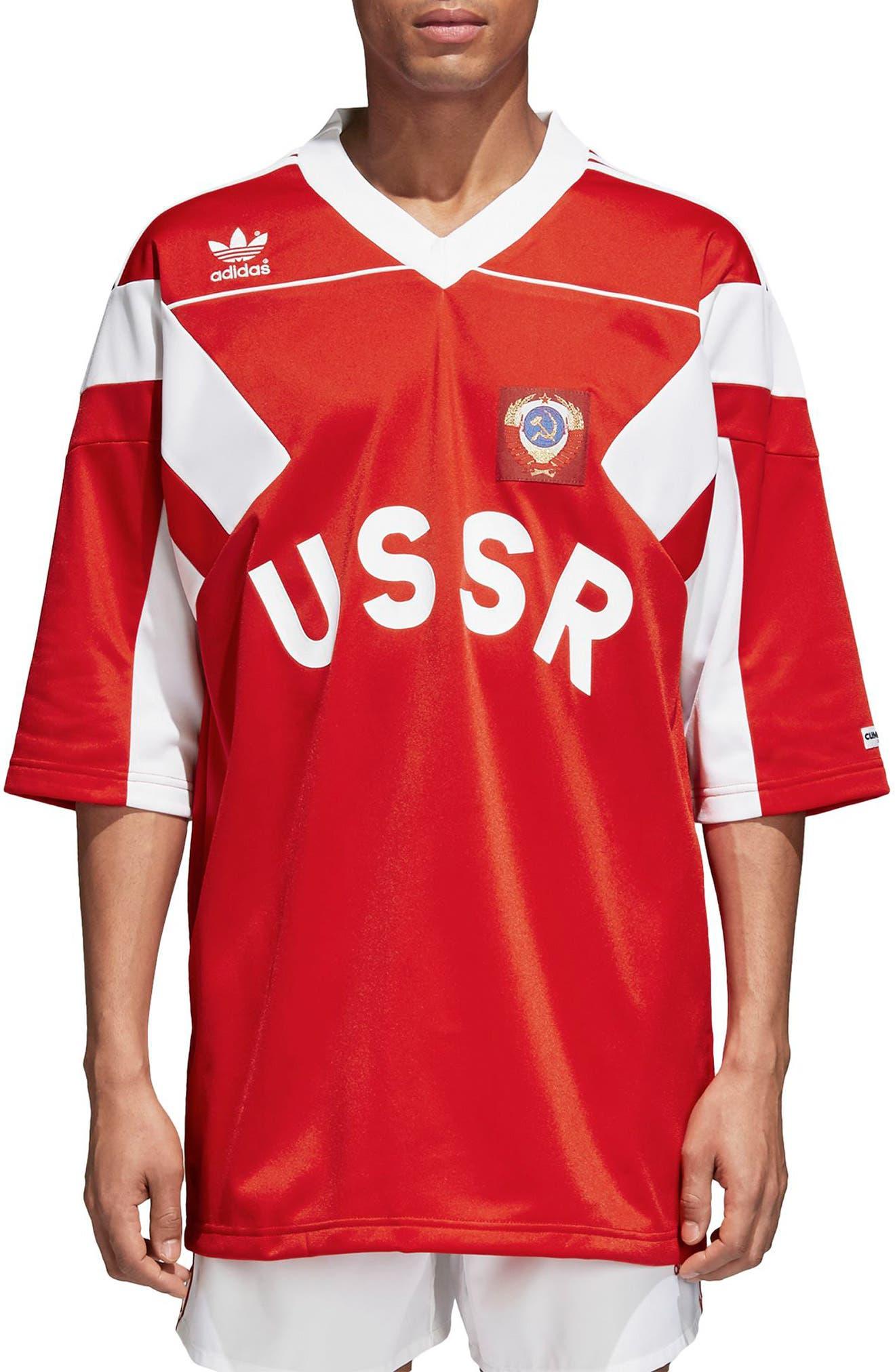 adidas Original Russia 1991 Soccer Jersey, Main, color, 610