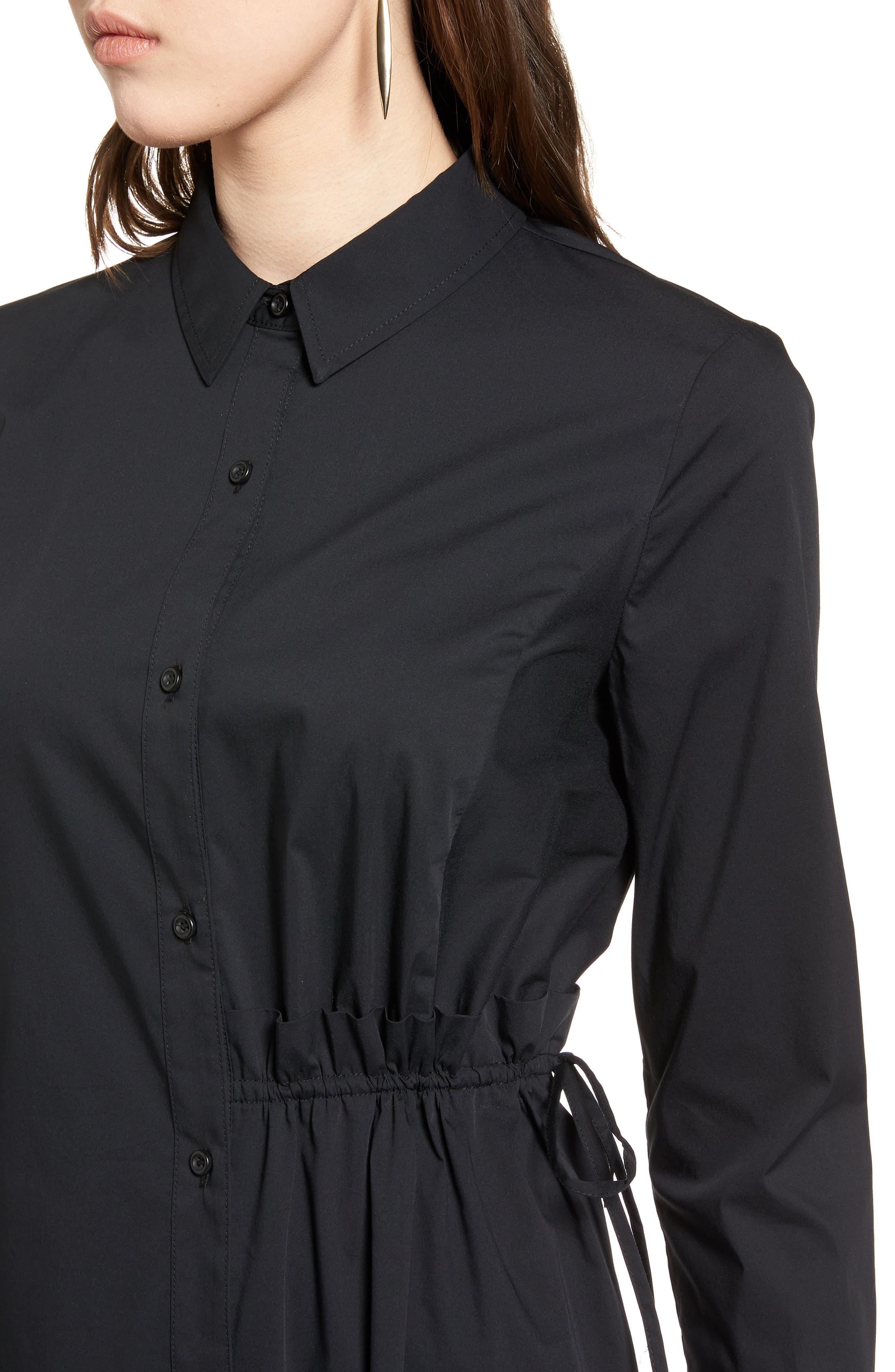 Poplin Shirtdress,                             Alternate thumbnail 4, color,                             001