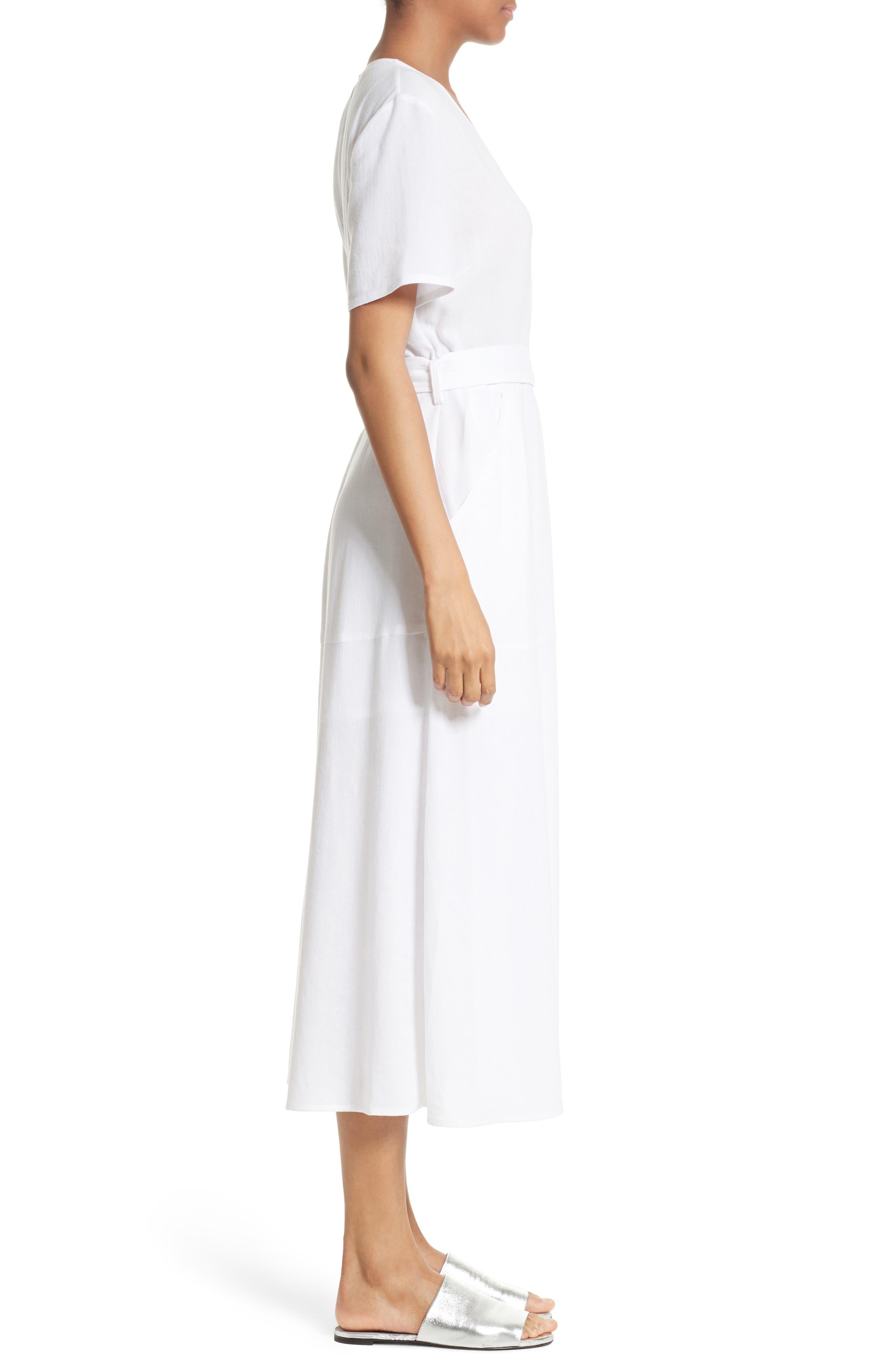 A.L.C.,                             Asa Midi Wrap Dress,                             Alternate thumbnail 3, color,                             100