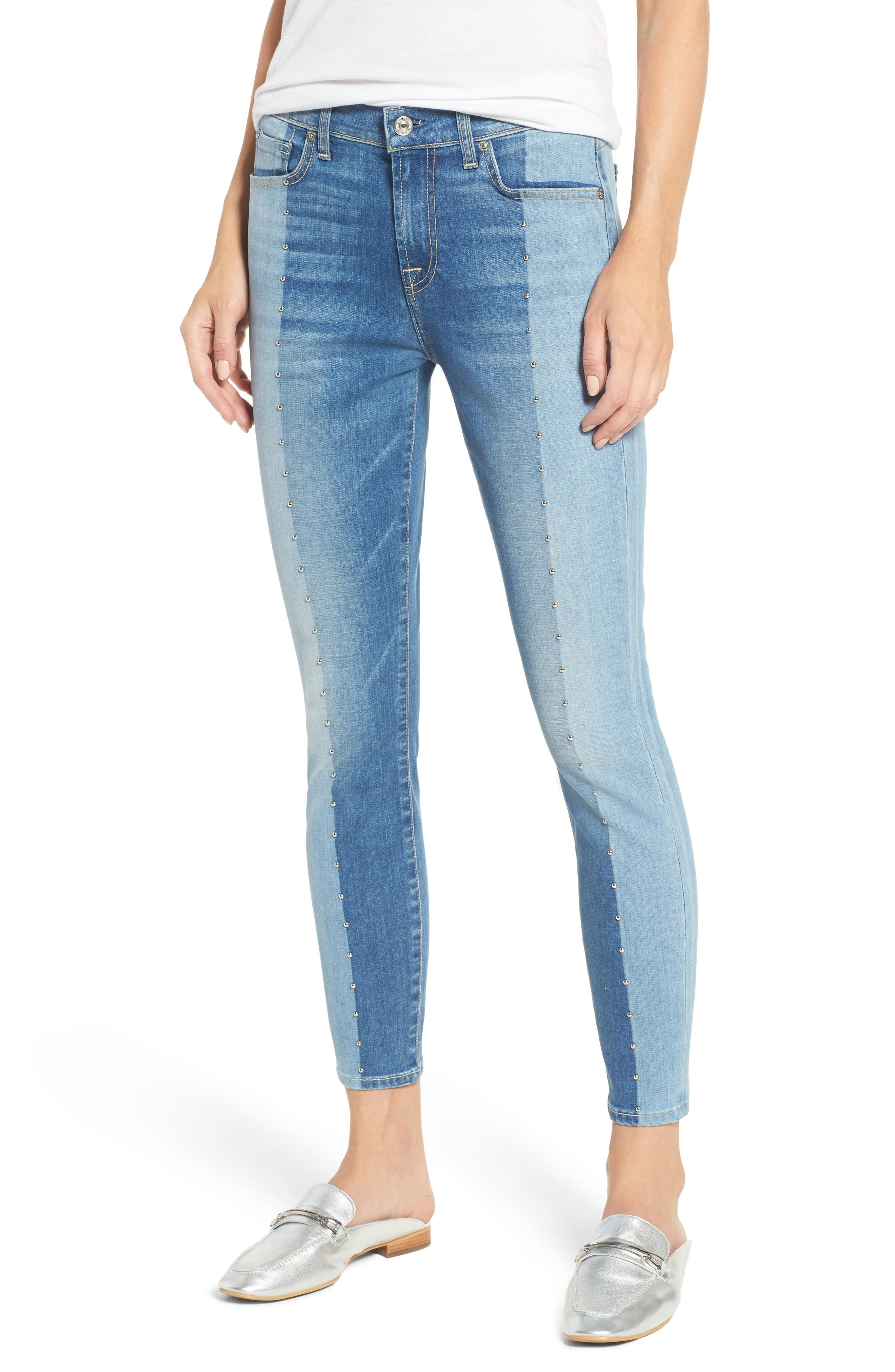 Shadow Seamed Ankle Skinny Jeans,                         Main,                         color, 400