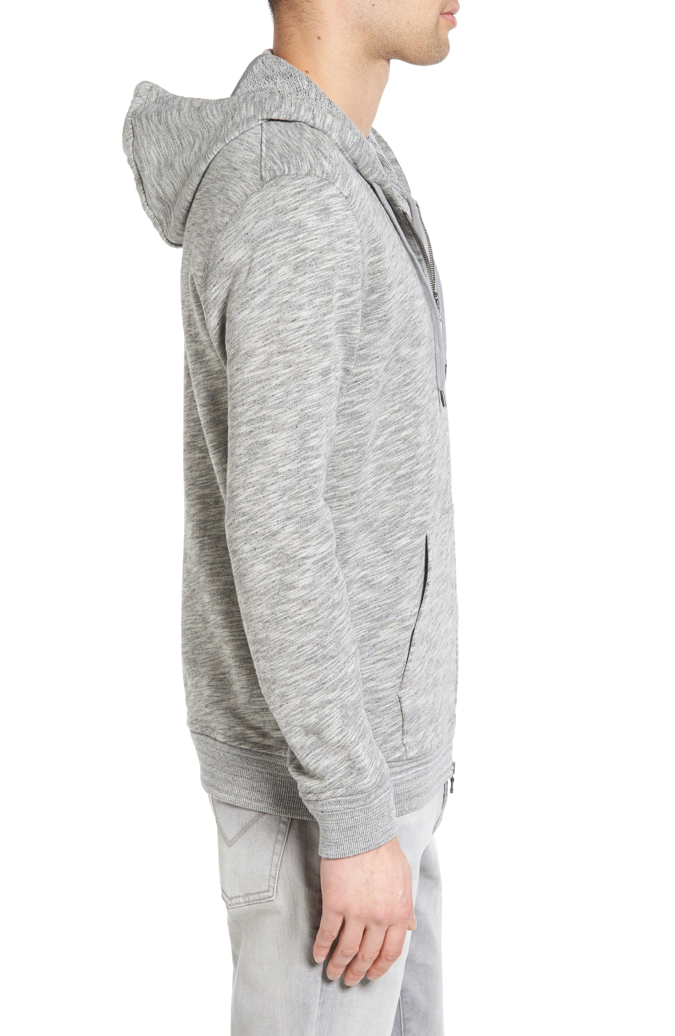 Mélange Cotton Zip Front Hoodie,                             Alternate thumbnail 3, color,