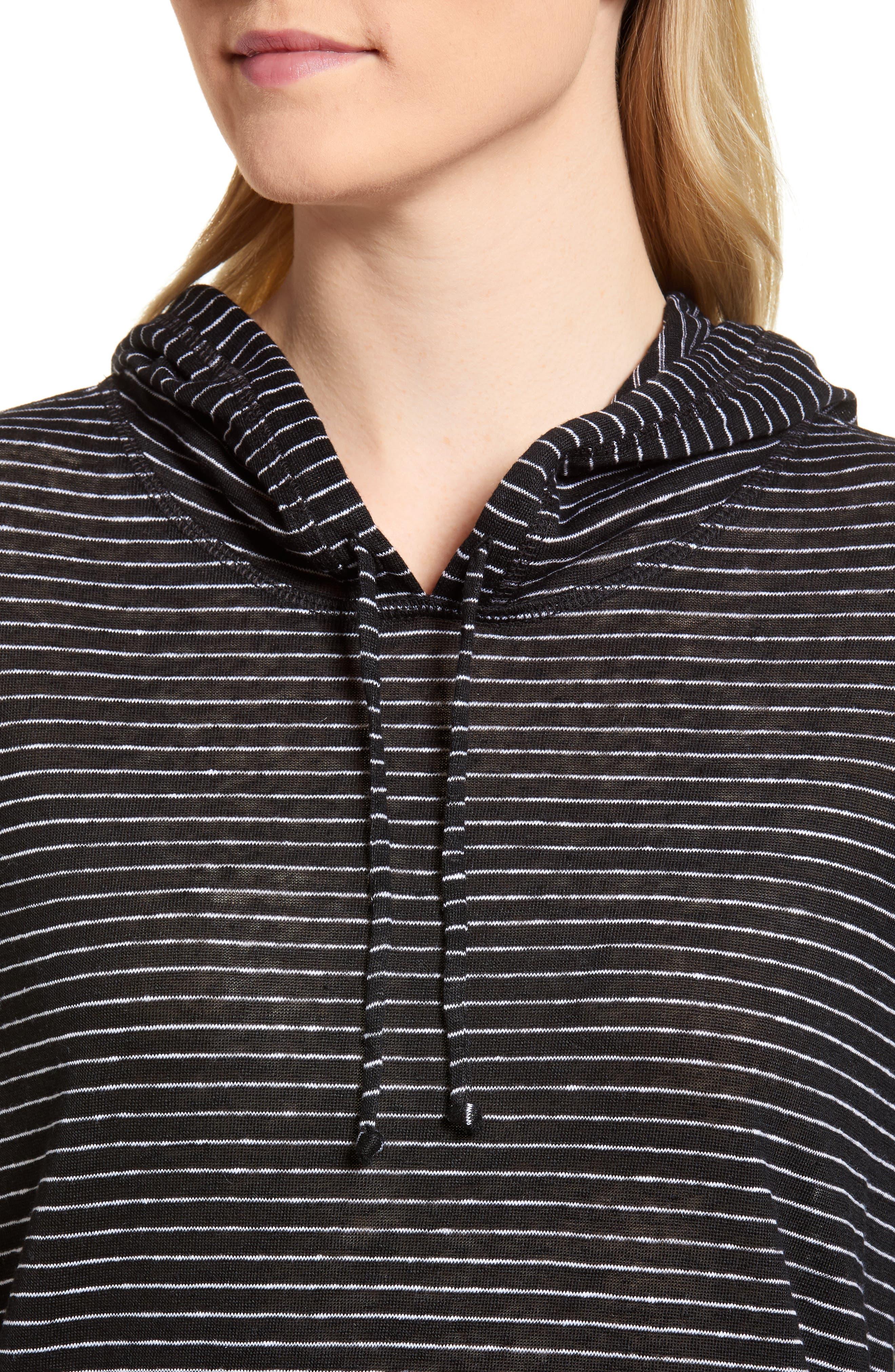 Knit Linen Hoodie,                             Alternate thumbnail 4, color,                             BLACK- IVORY SKINNY STRIPE