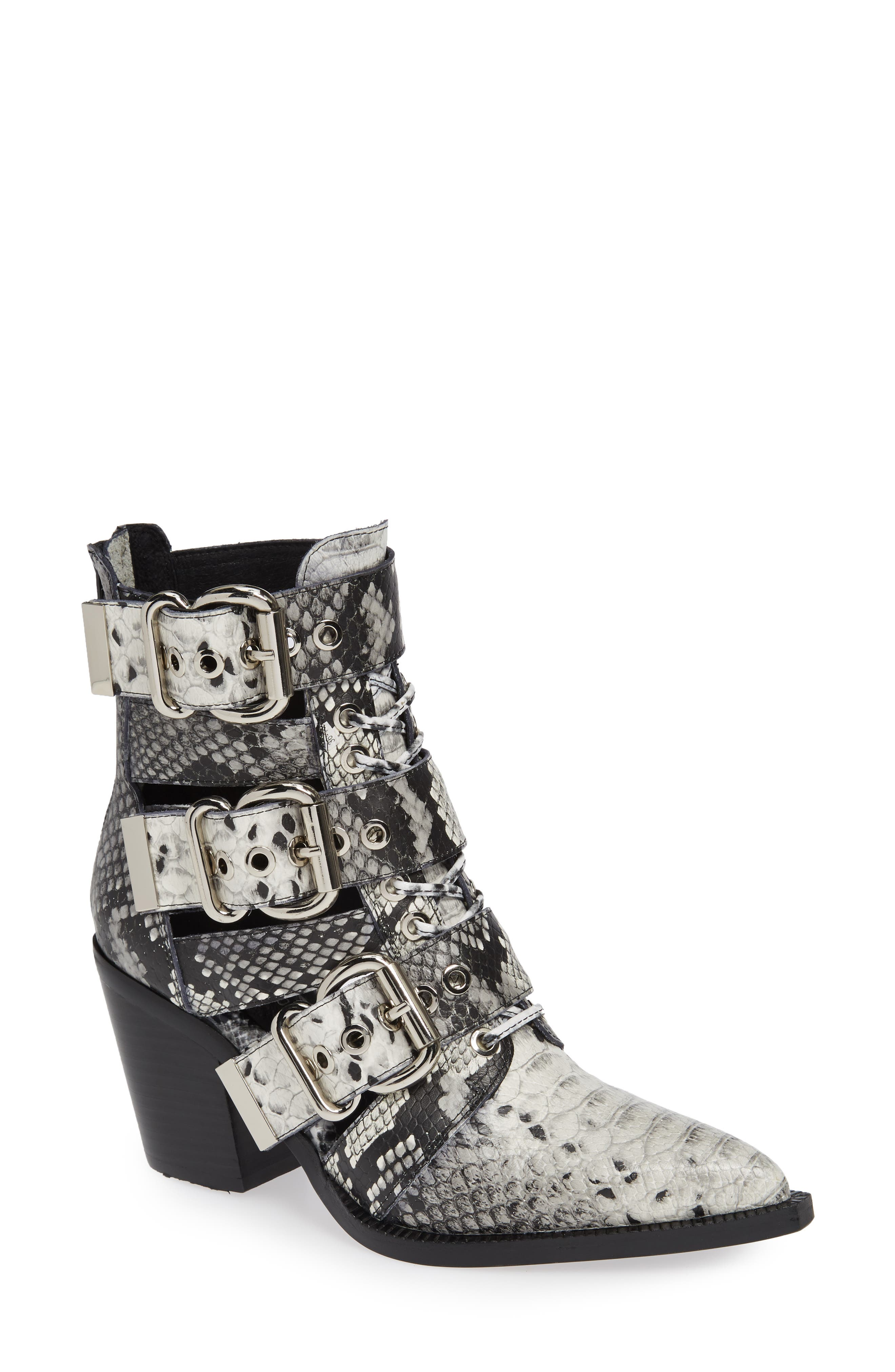 Caceres Bootie,                             Main thumbnail 1, color,                             BLACK WHITE SNAKE PRINT