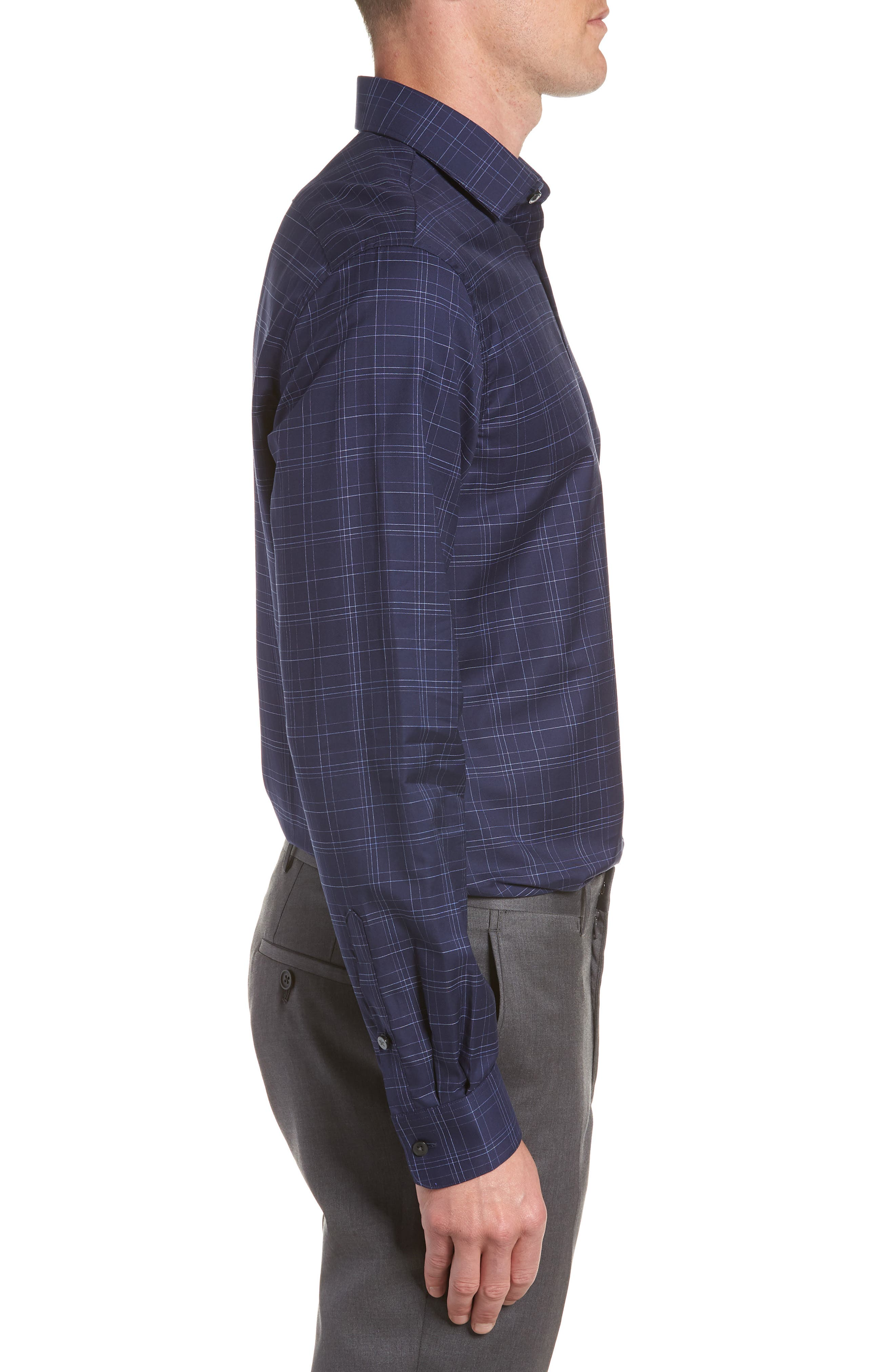 Windowpane Plaid Regular Fit Dress Shirt,                             Alternate thumbnail 4, color,                             INDIGO