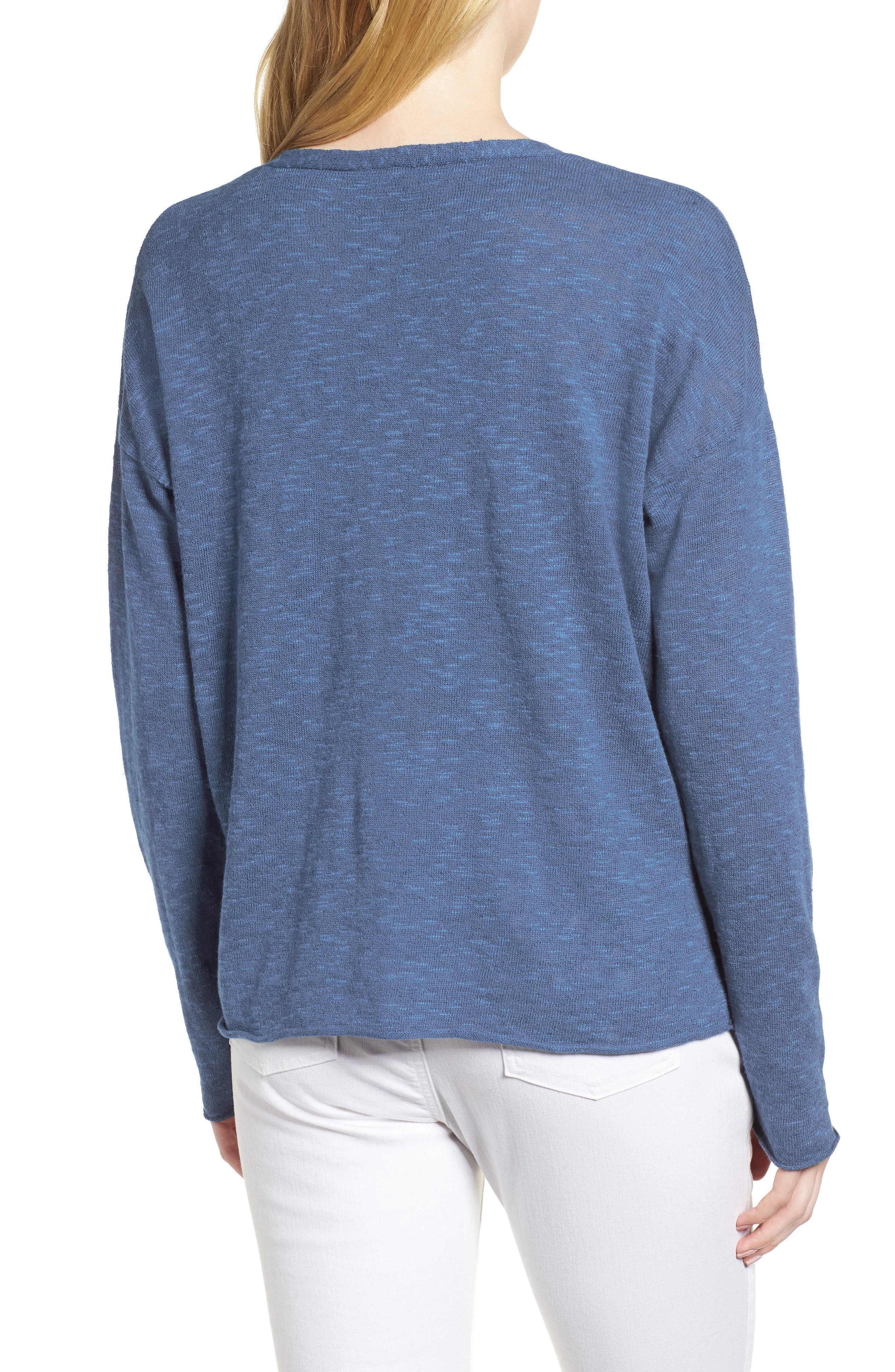 Boxy Organic Linen & Cotton Sweater,                             Alternate thumbnail 9, color,