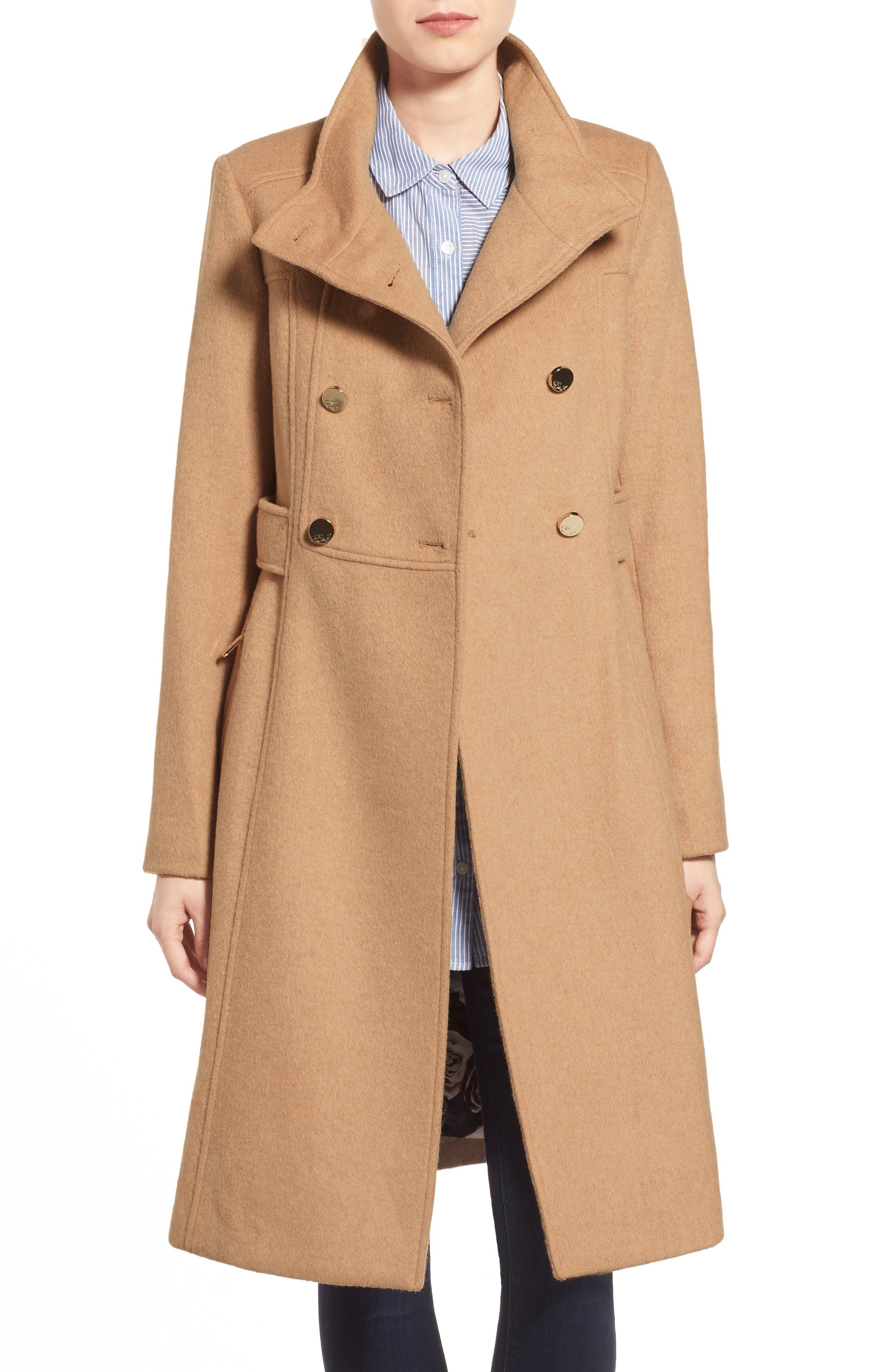 Wool Blend Long Military Coat,                             Alternate thumbnail 8, color,