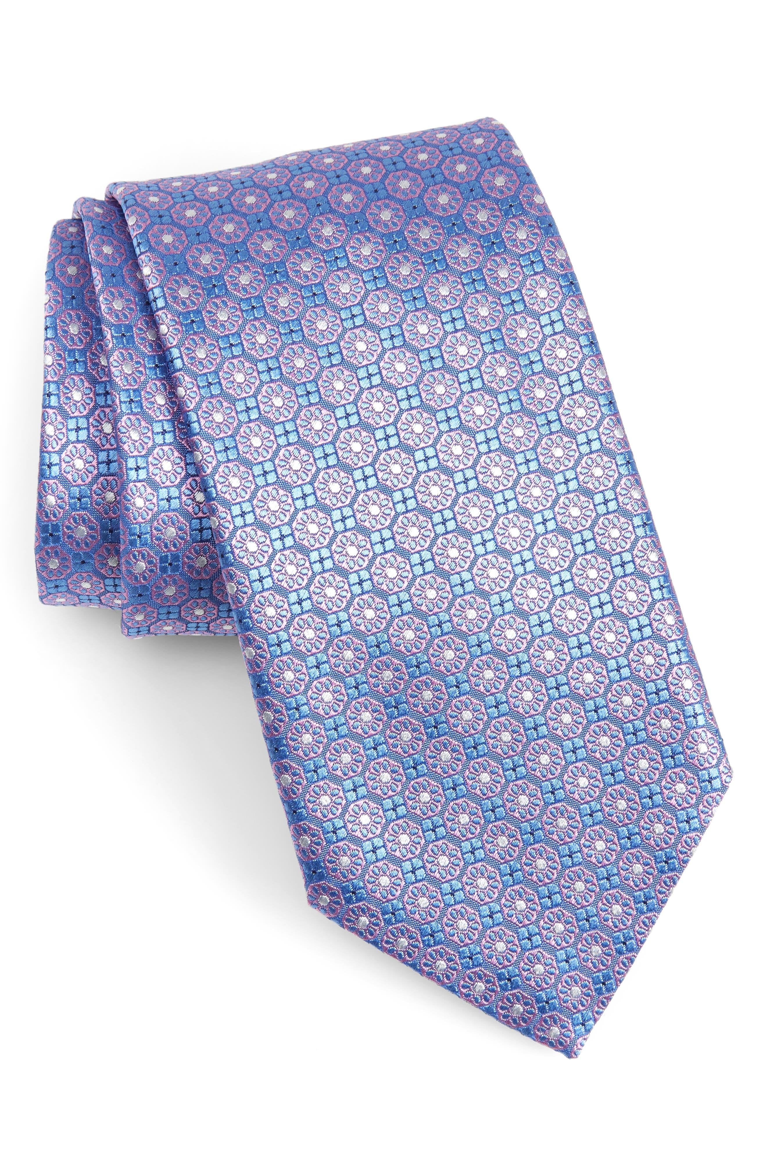 Medallion Silk Tie,                         Main,                         color, 450