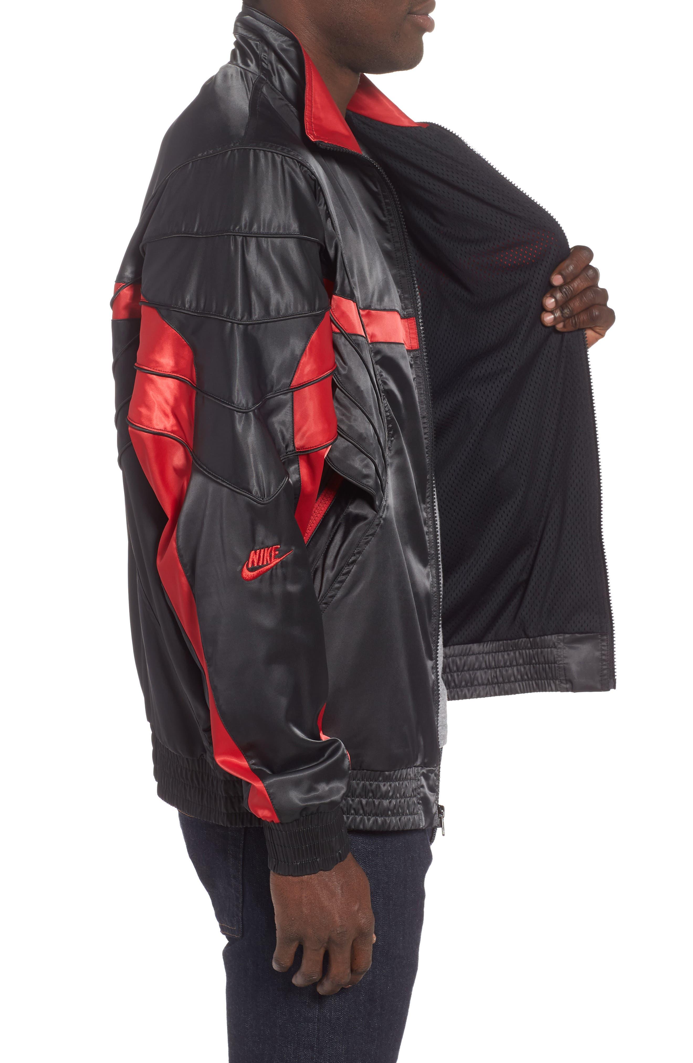 AJ5 Satin Track Jacket,                             Alternate thumbnail 3, color,                             BLACK