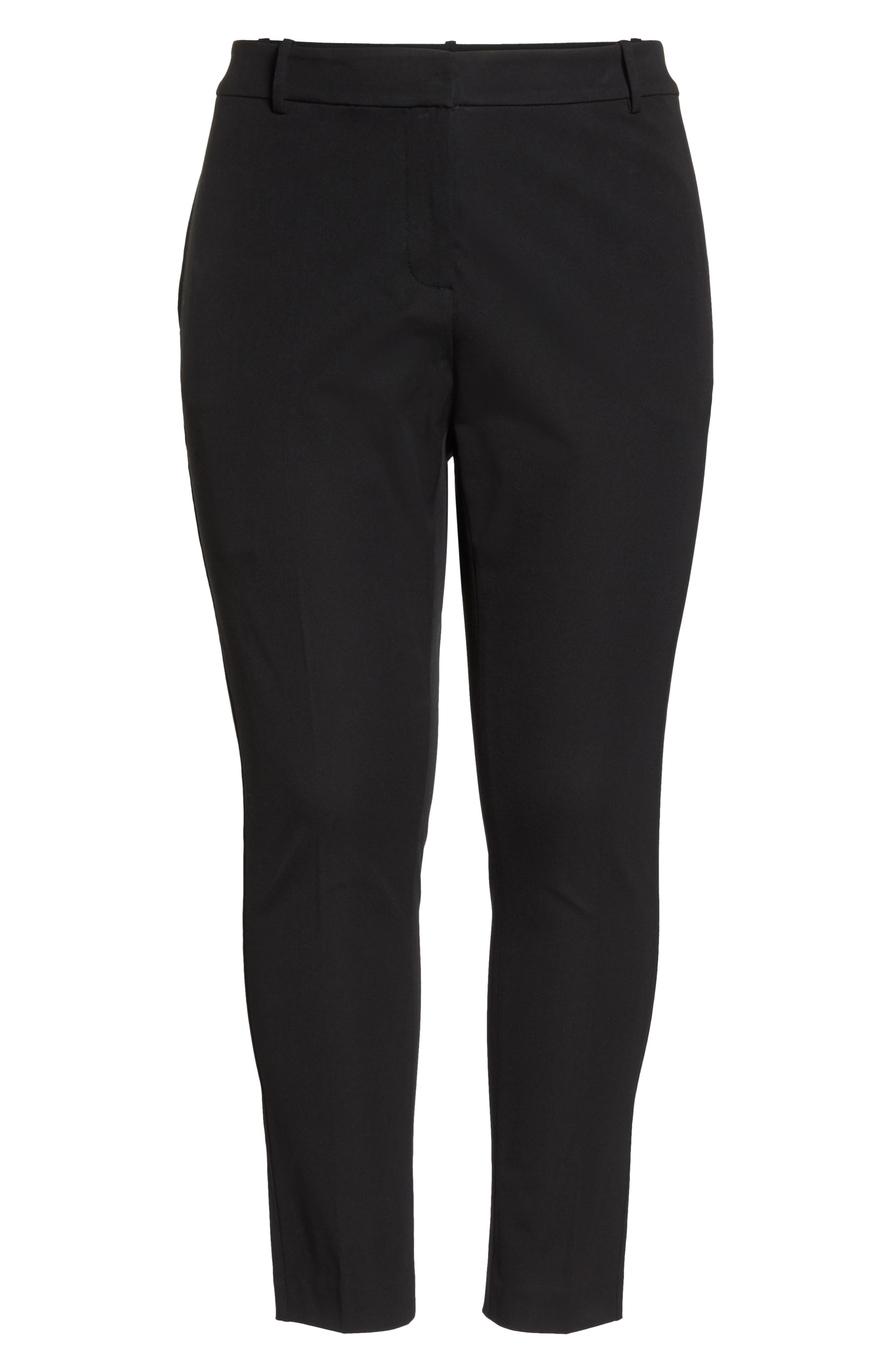 Stretch Cotton Blend Twill Ankle Pants,                             Alternate thumbnail 7, color,                             RICH BLACK