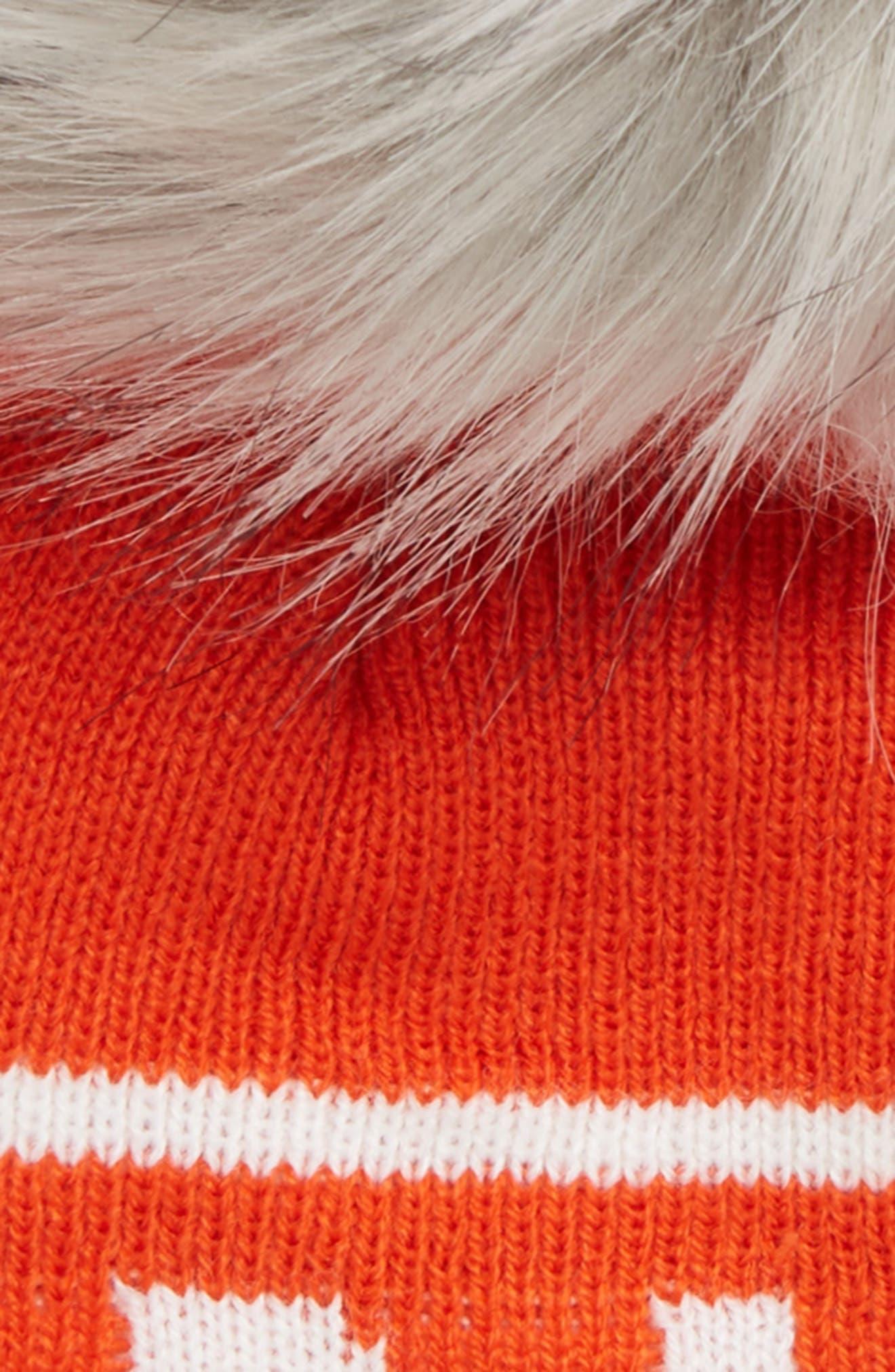 Sno Faux Fur Pom Beanie,                             Alternate thumbnail 2, color,                             ORANGE