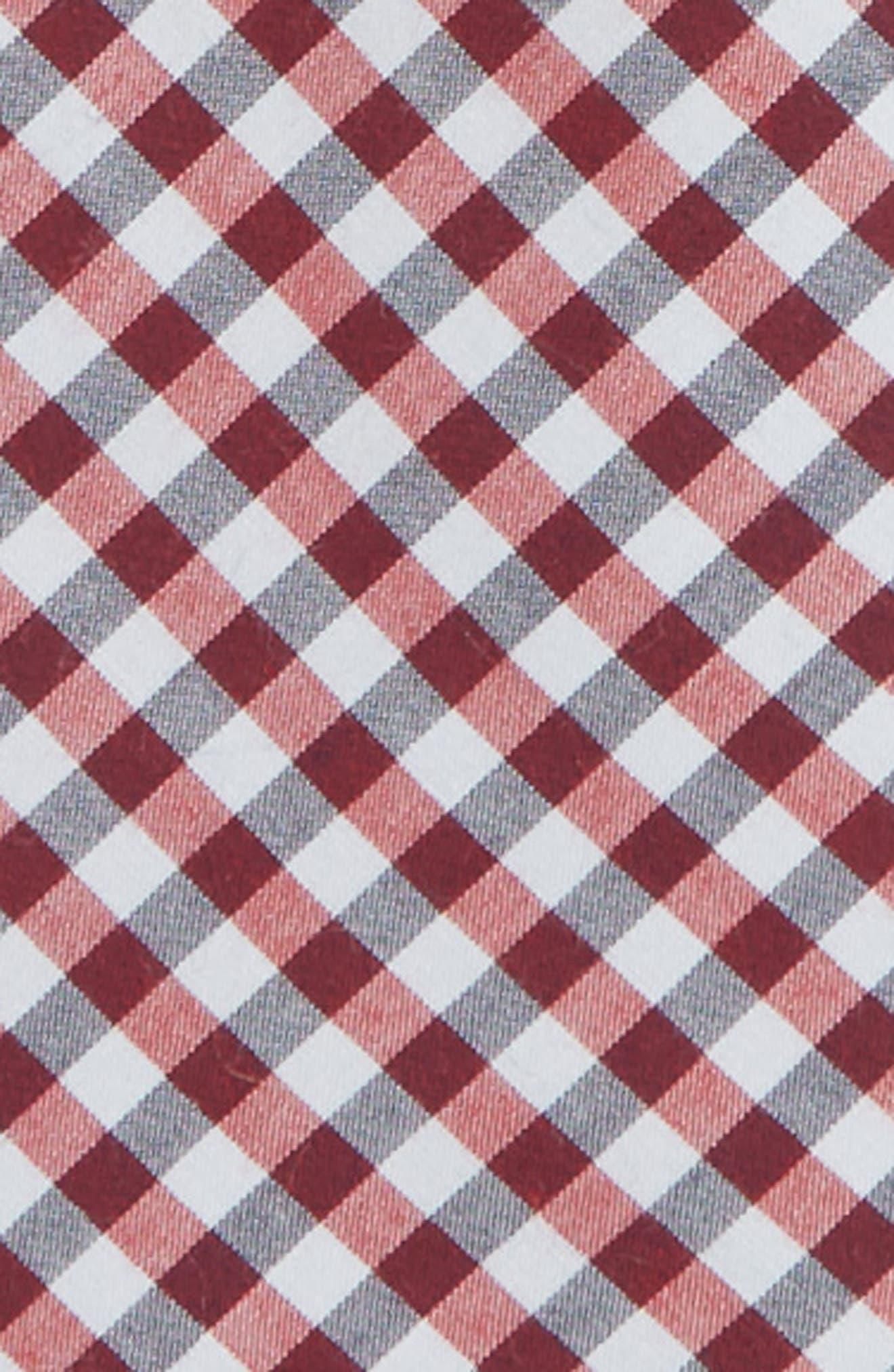 Plaid Cotton Zip Tie,                             Alternate thumbnail 2, color,                             RED