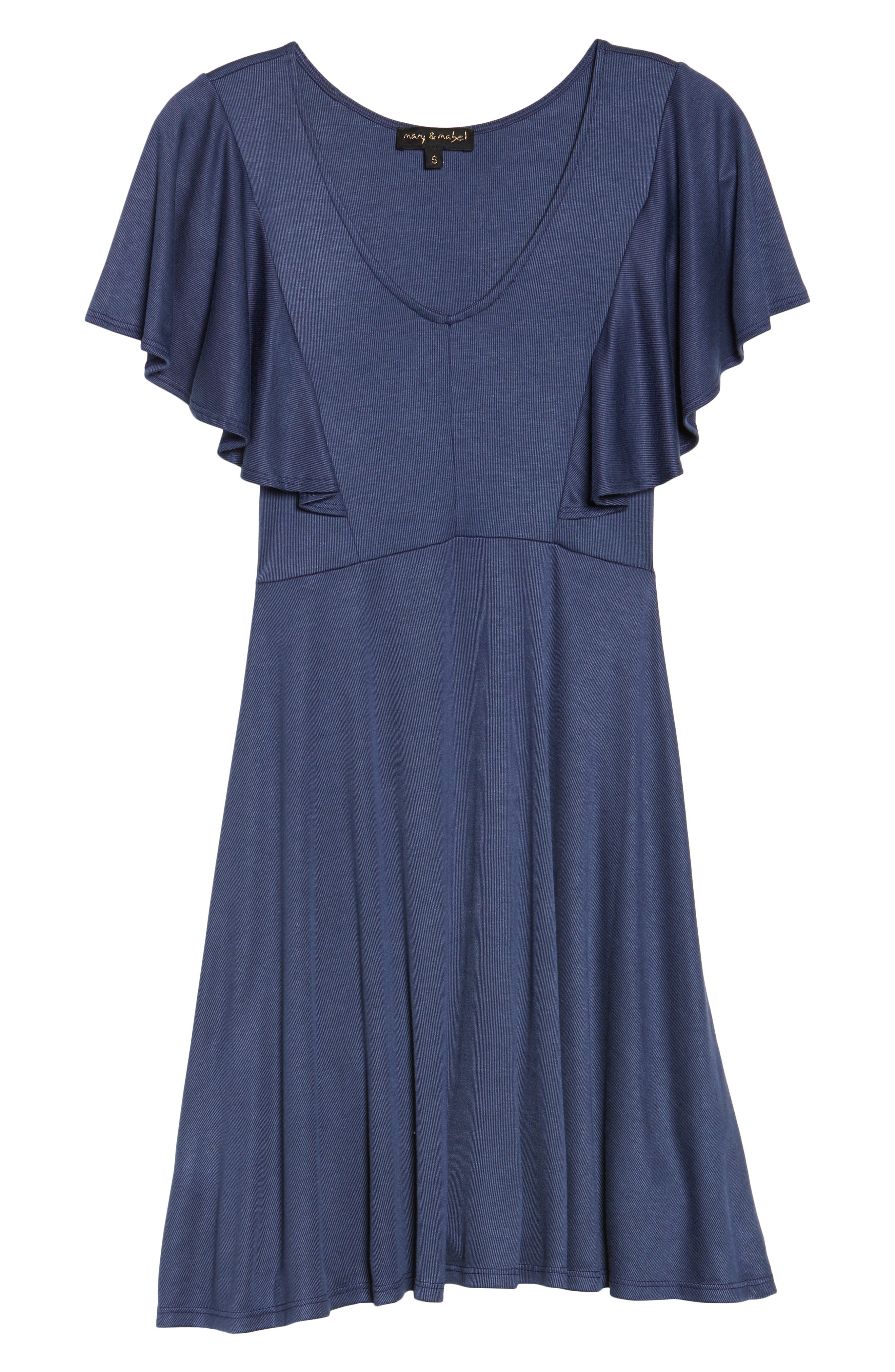 Flutter Sleeve Knit Dress,                             Alternate thumbnail 6, color,                             420