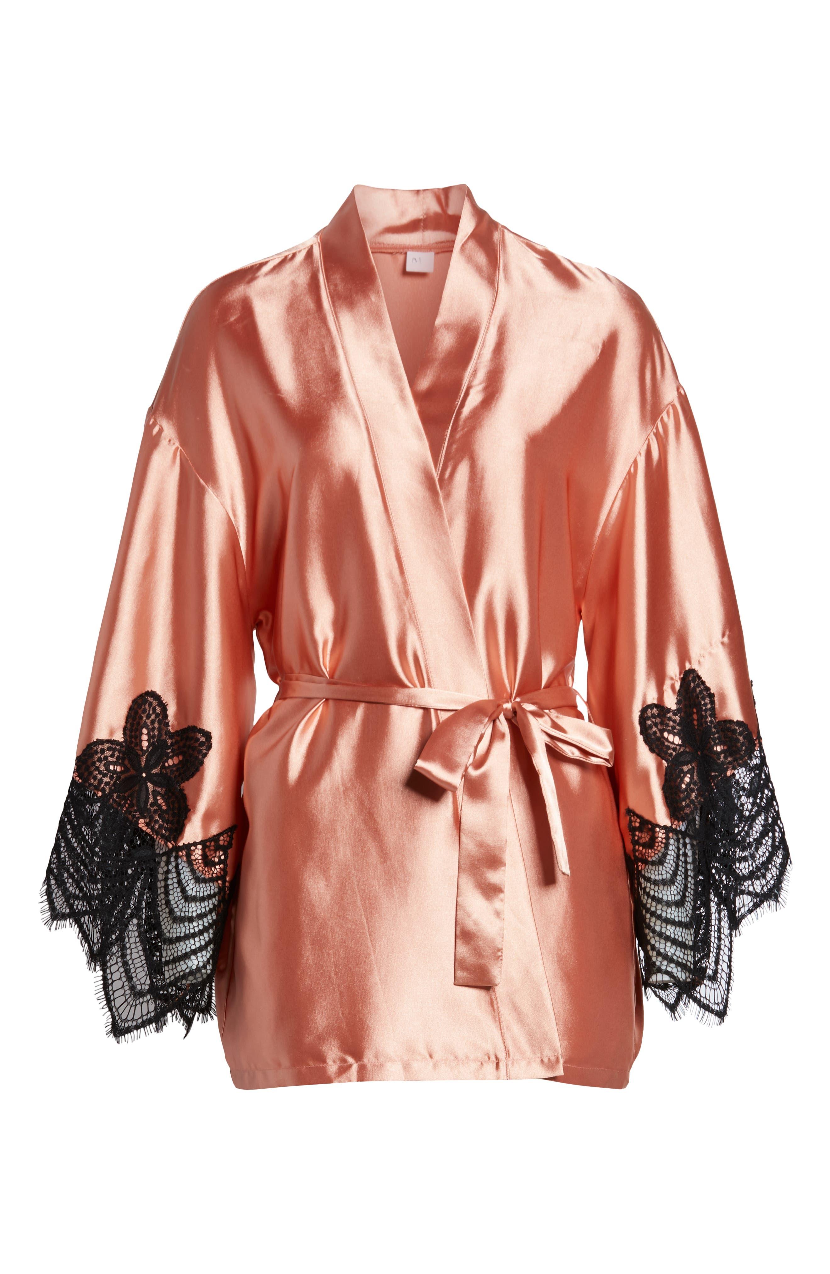 Drama Lace Trim Satin Robe,                             Alternate thumbnail 6, color,                             CAMEO BROWN/ BLACK
