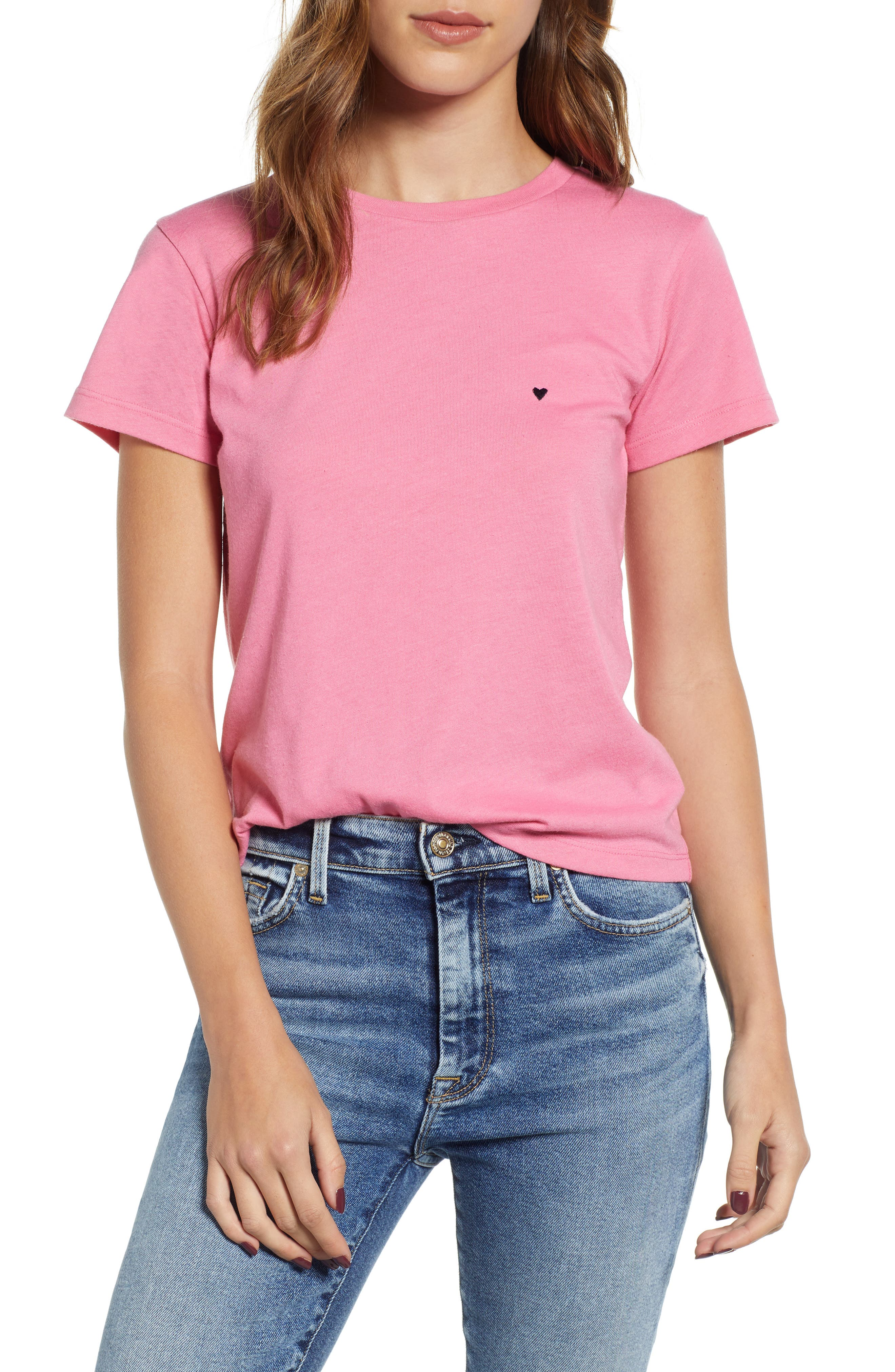 Embroidered Heart Tee,                         Main,                         color, PINK