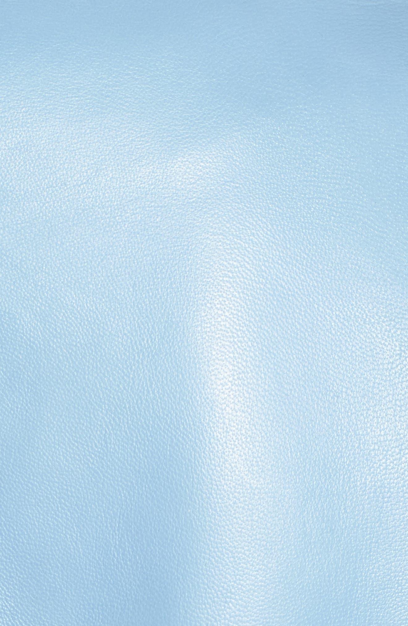 Donna Lambskin Leather Moto Jacket,                             Alternate thumbnail 5, color,                             POWDER BLUE