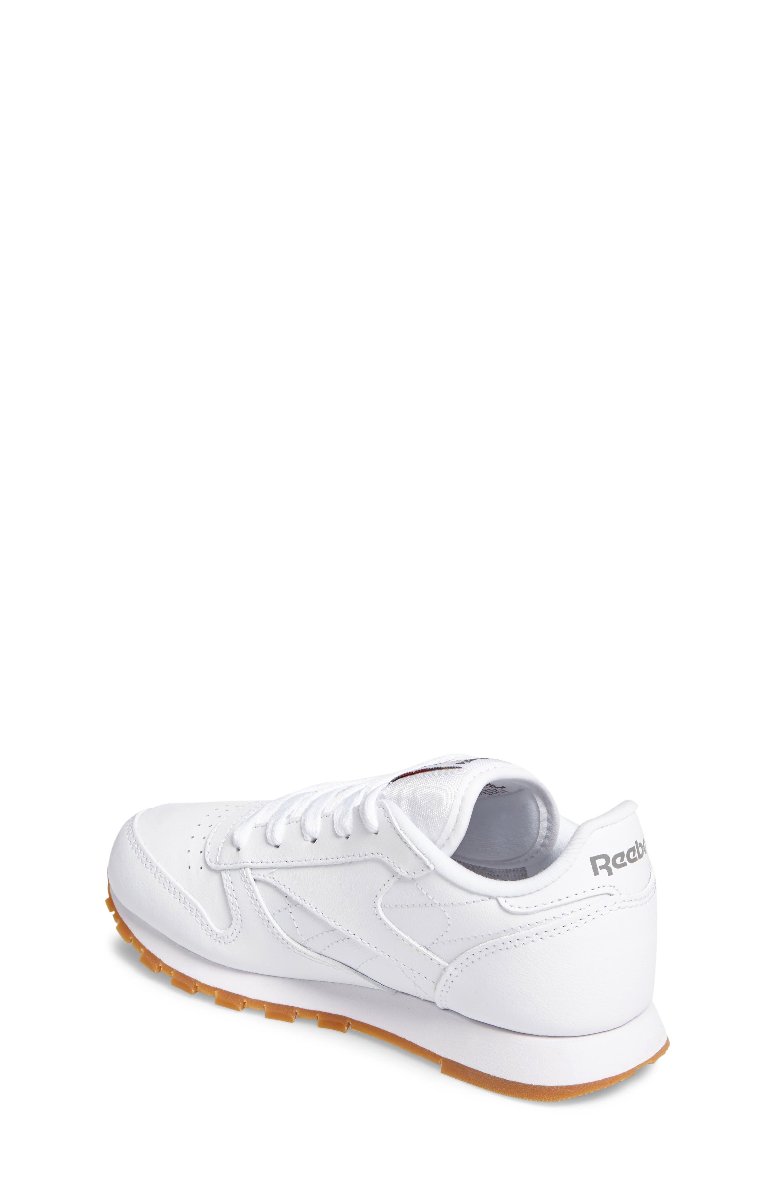 Classic Leather Sneaker,                             Alternate thumbnail 3, color,                             WHITE/ GUM