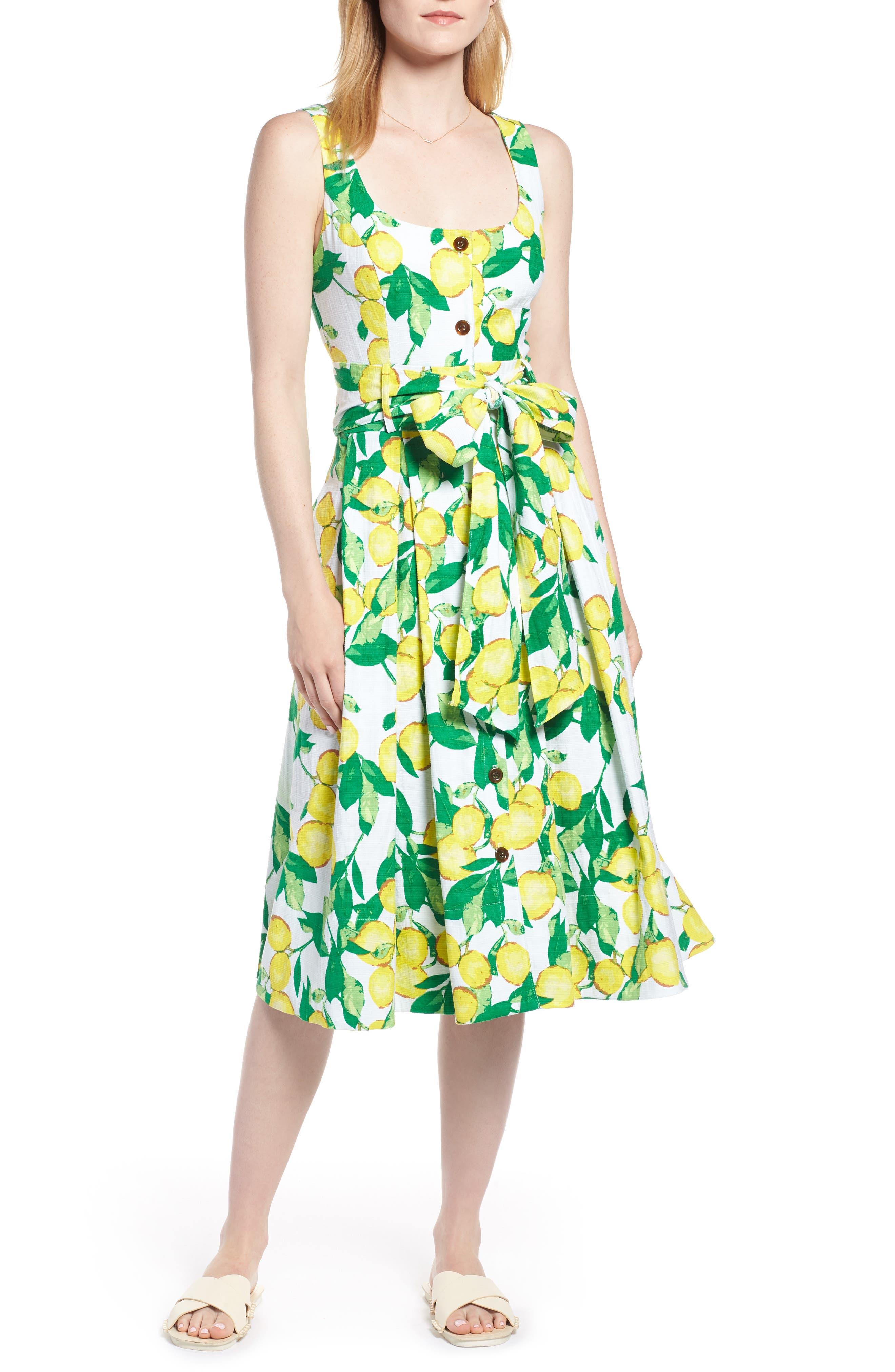 Button Front Lemon Print Dress,                         Main,                         color, 700