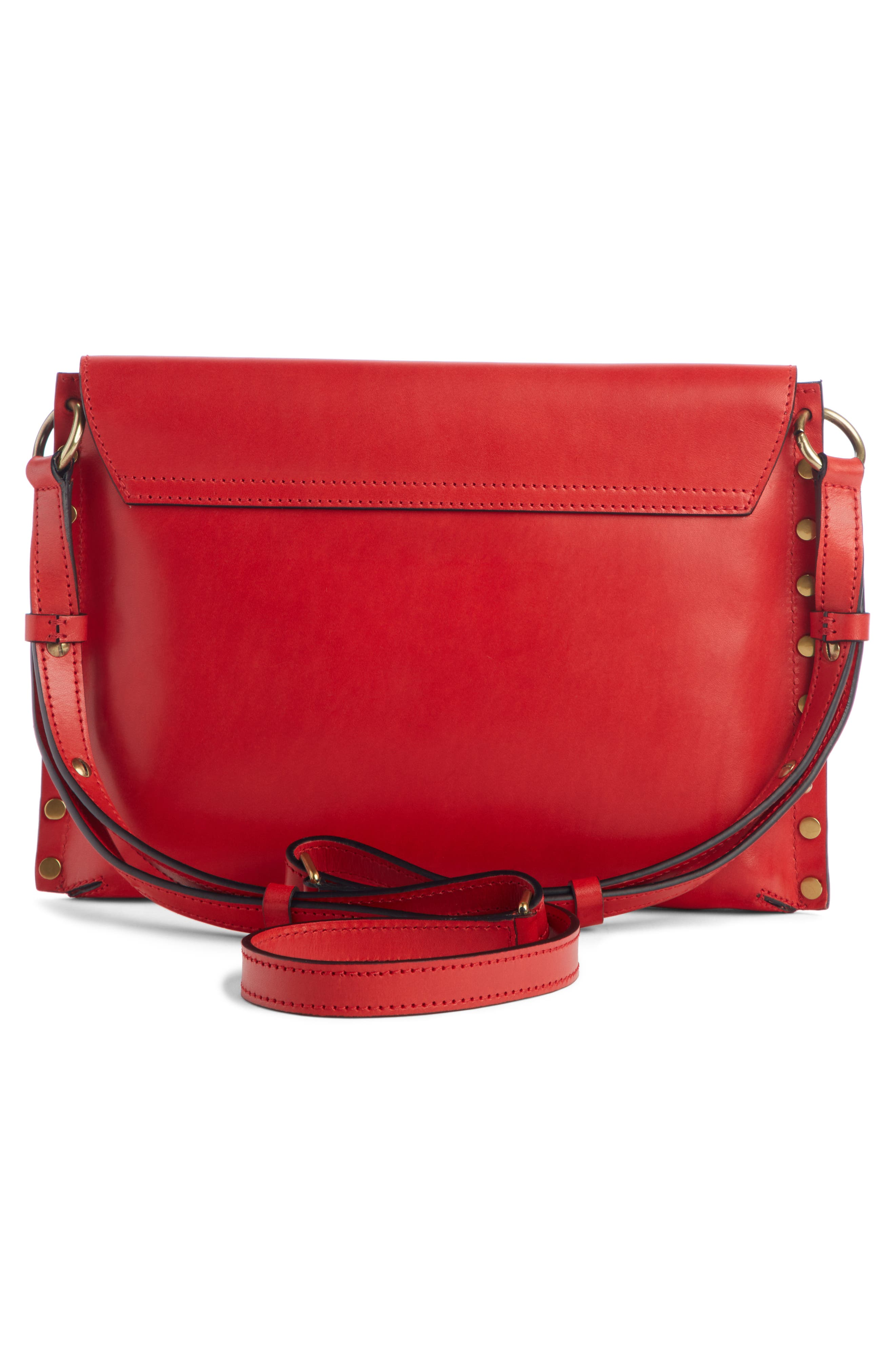ISABEL MARANT,                             Sinky Leather Crossbody Bag,                             Alternate thumbnail 2, color,                             RED