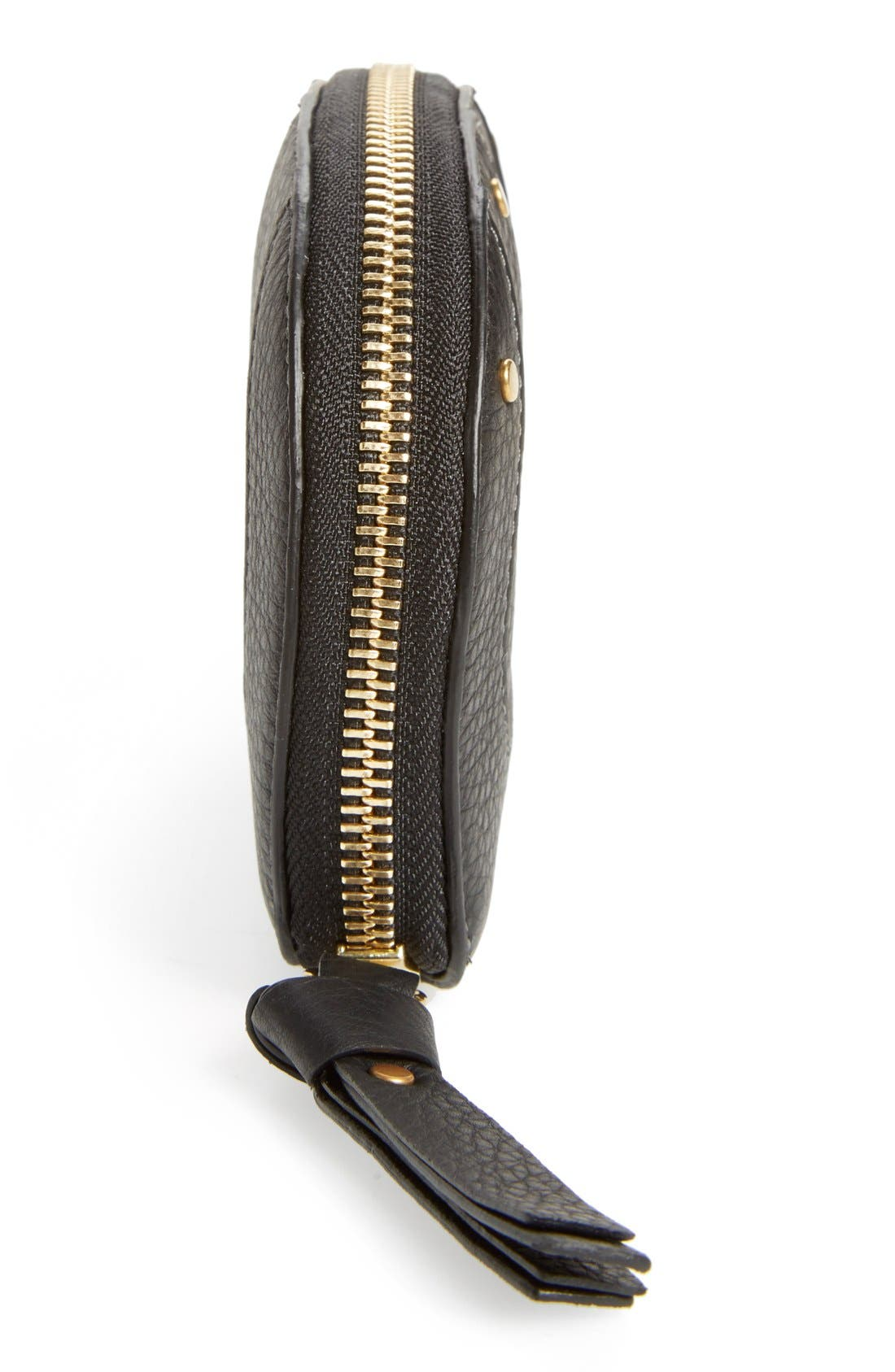 CHLOÉ,                             'Hayley' Zip Around Calfskin Leather Wallet,                             Alternate thumbnail 3, color,                             001