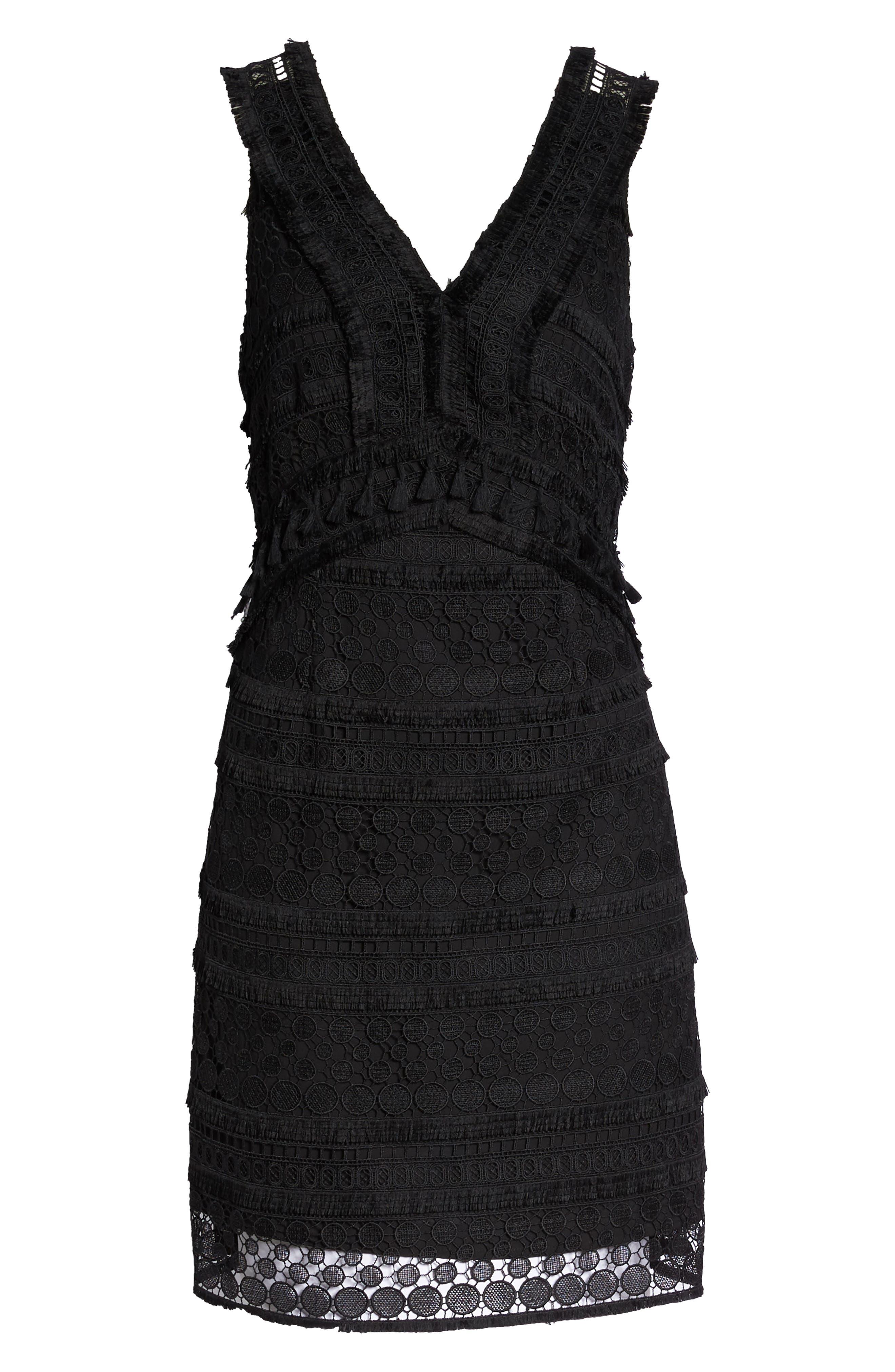 Lace Sheath Dress,                             Alternate thumbnail 7, color,                             BLACK