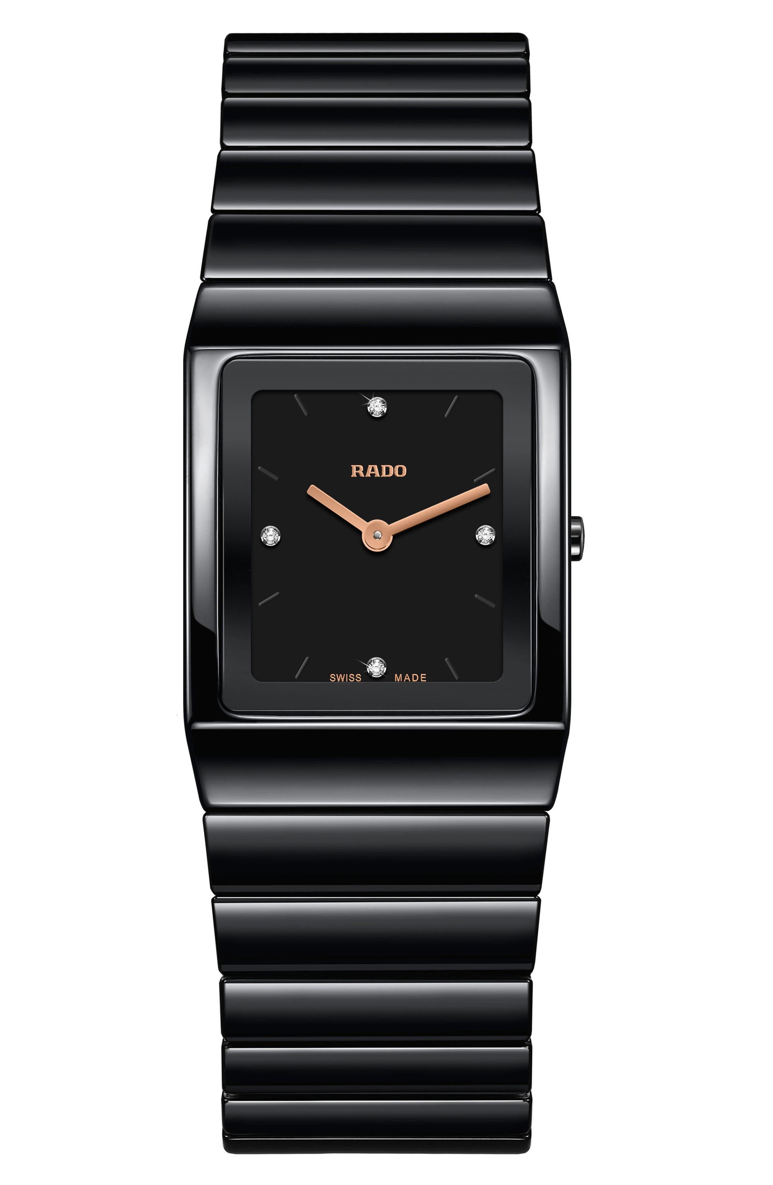 Ceramica Diamond Bracelet Watch, 22.9mm x 31.7mm,                         Main,                         color, BLACK