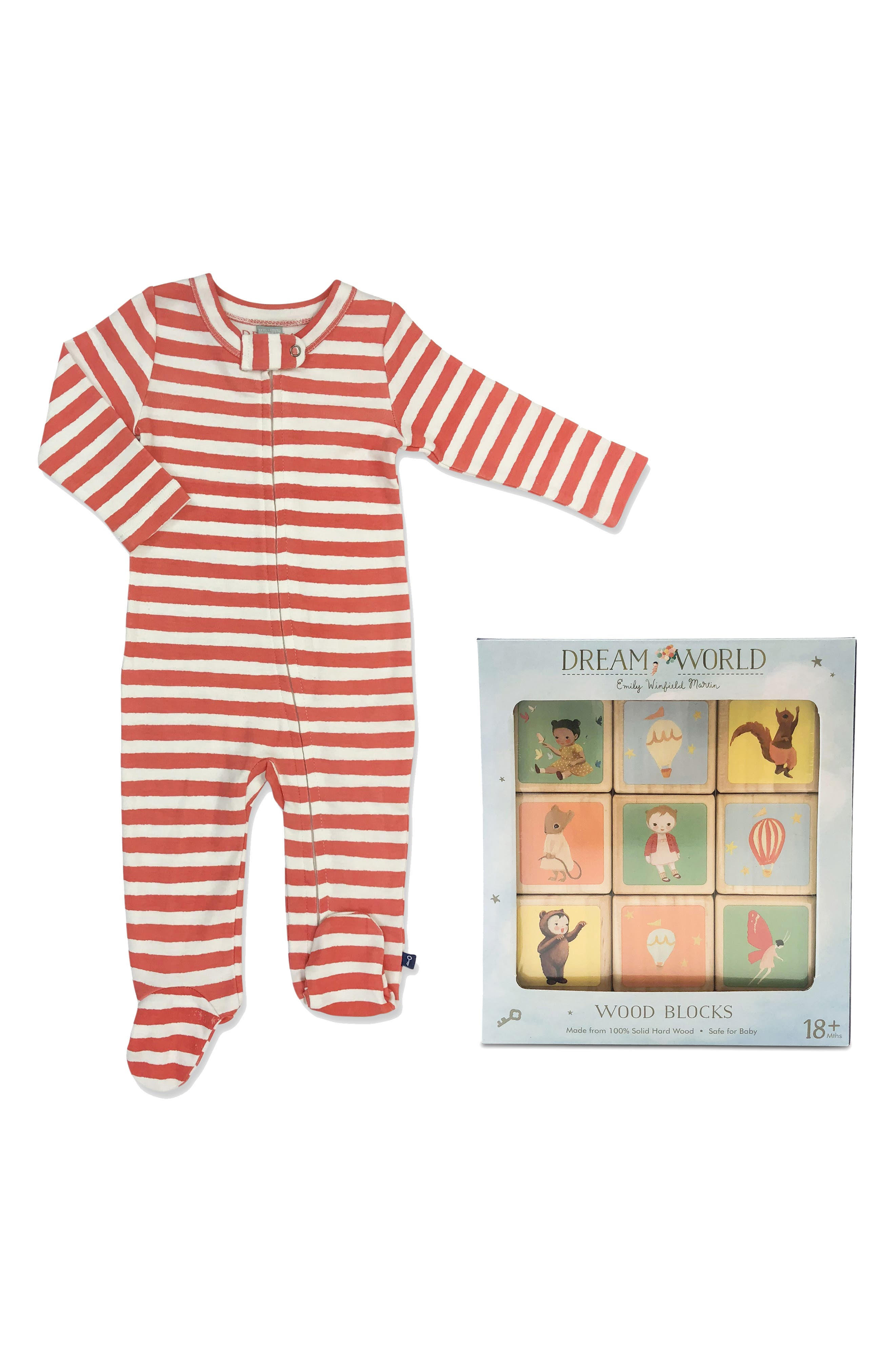 Dream World by Emily Winfield Martin Organic Cotton Footie & Wood Blocks Set,                             Main thumbnail 1, color,                             600