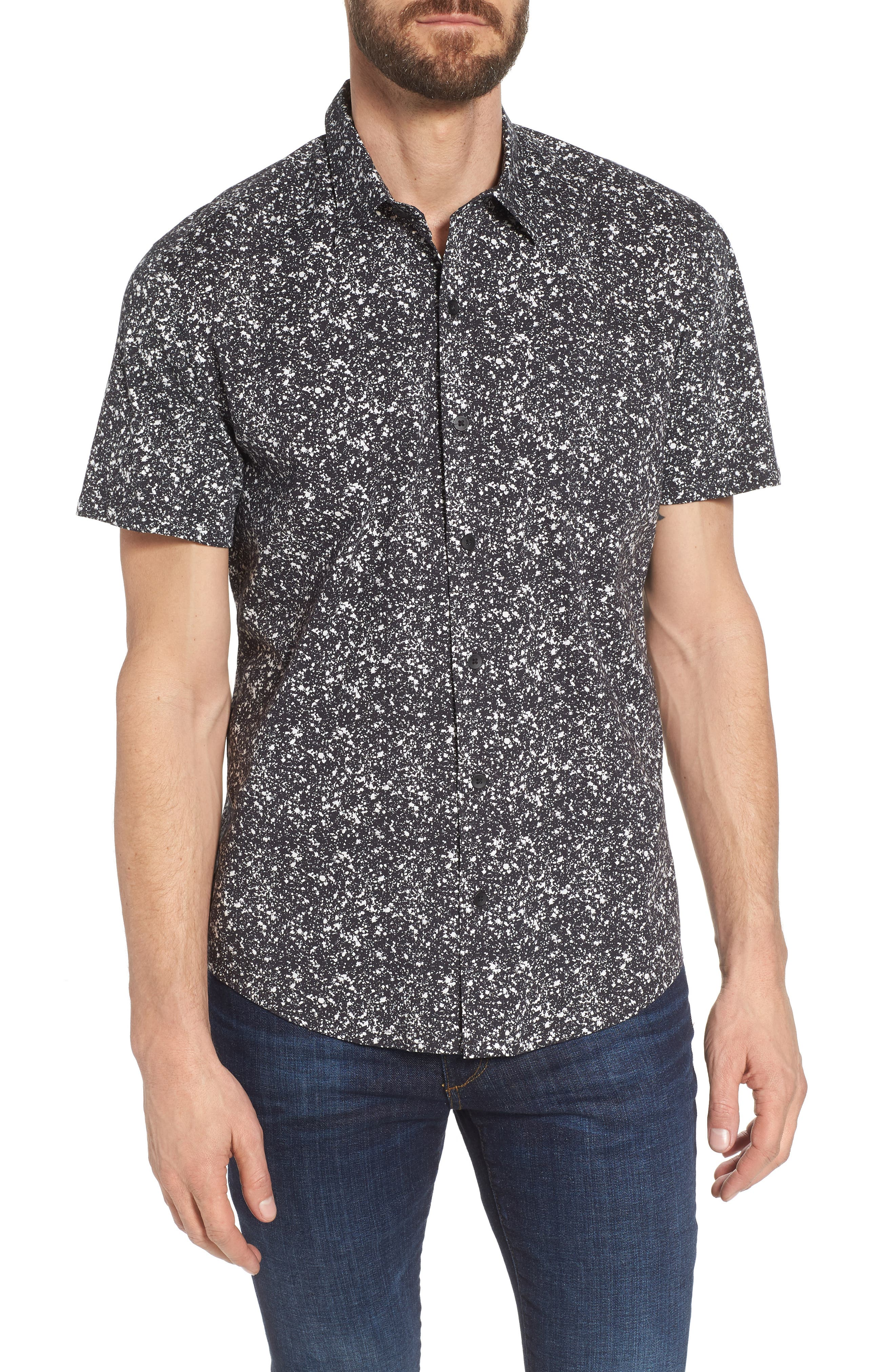 Slim Fit Splatter Sport Shirt,                         Main,                         color, 090