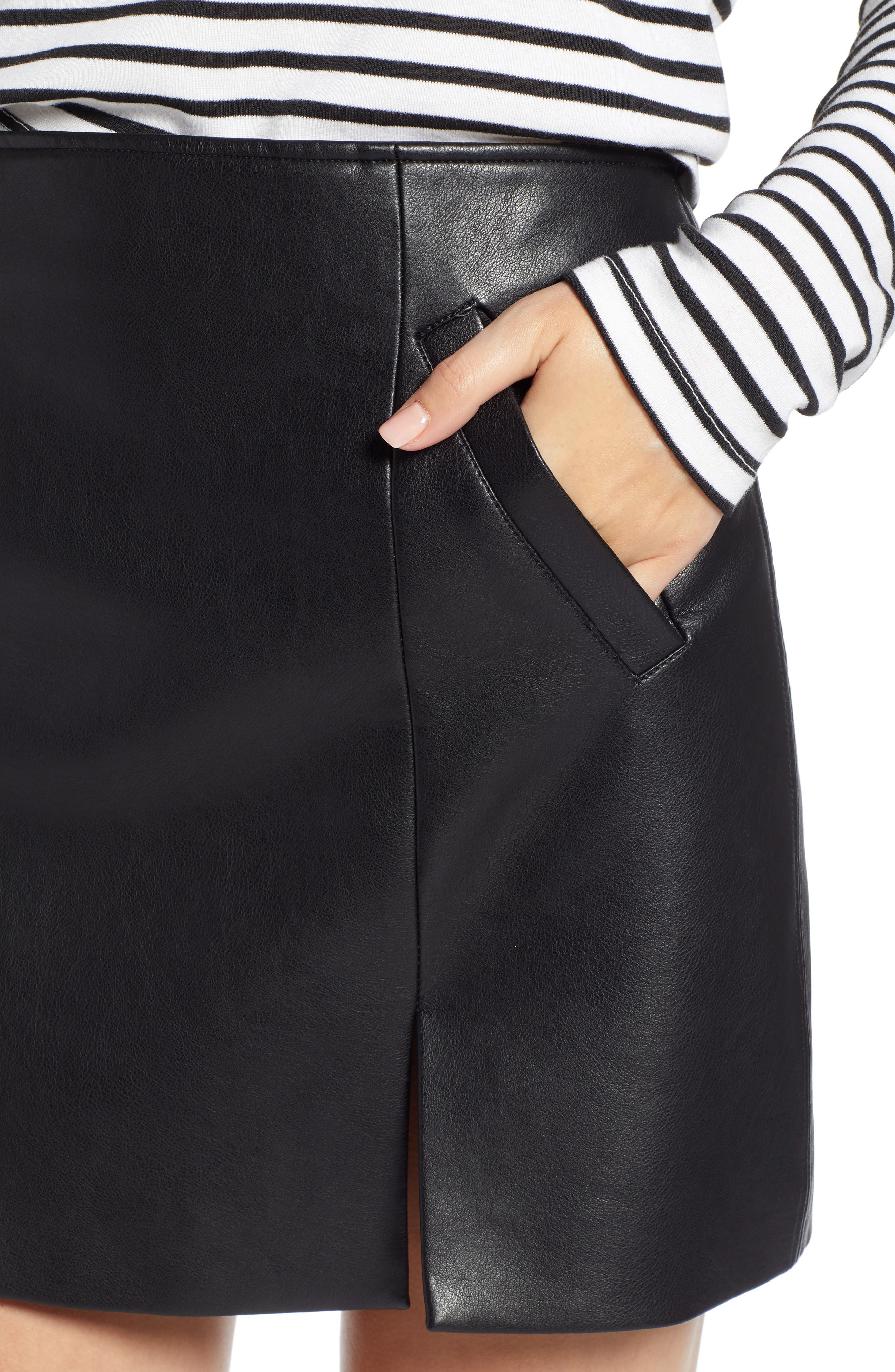 Faux Leather Miniskirt,                             Alternate thumbnail 4, color,                             LATCH ON