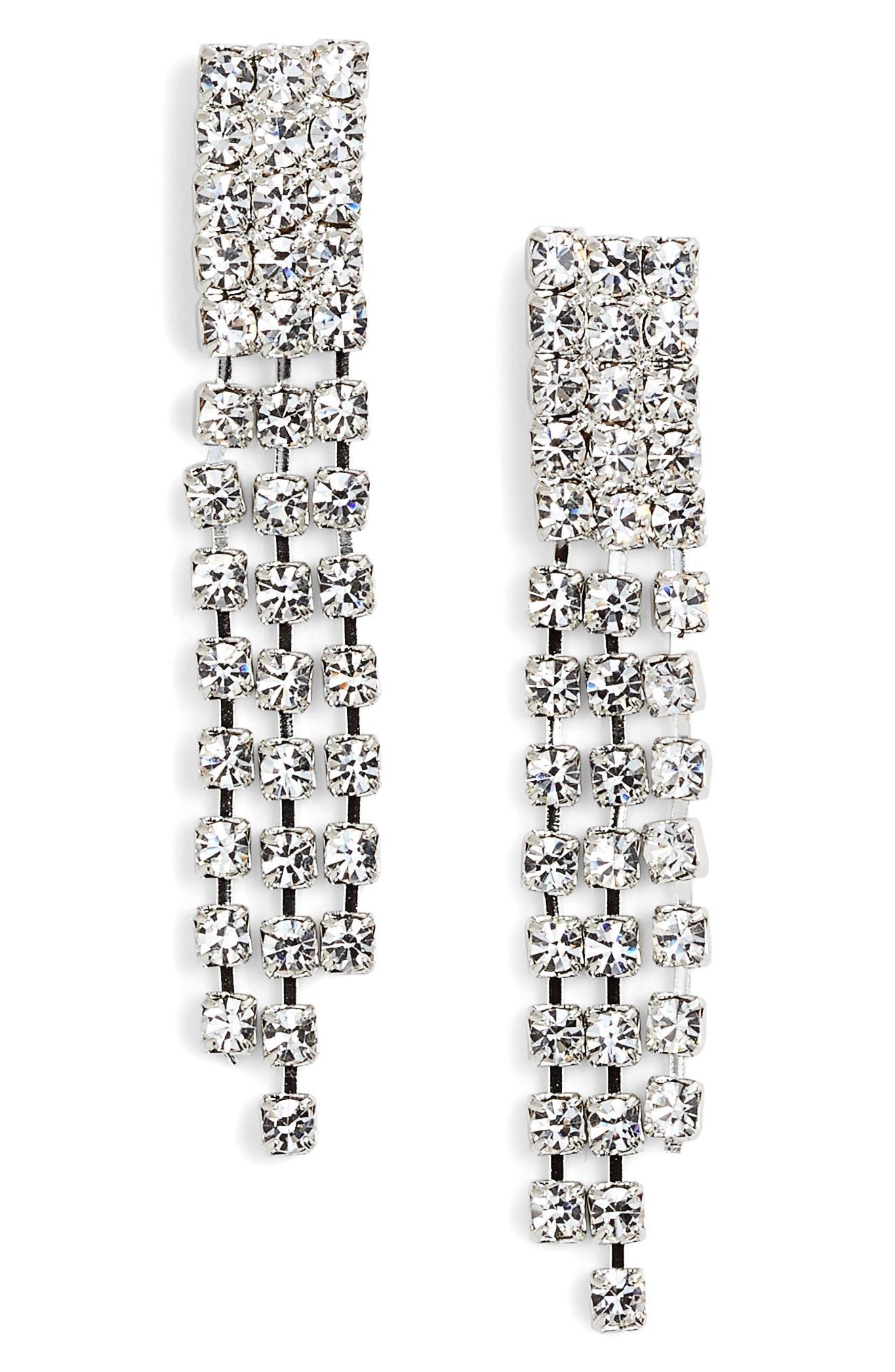 Crystal Fringe Drop Earrings,                             Main thumbnail 1, color,                             040