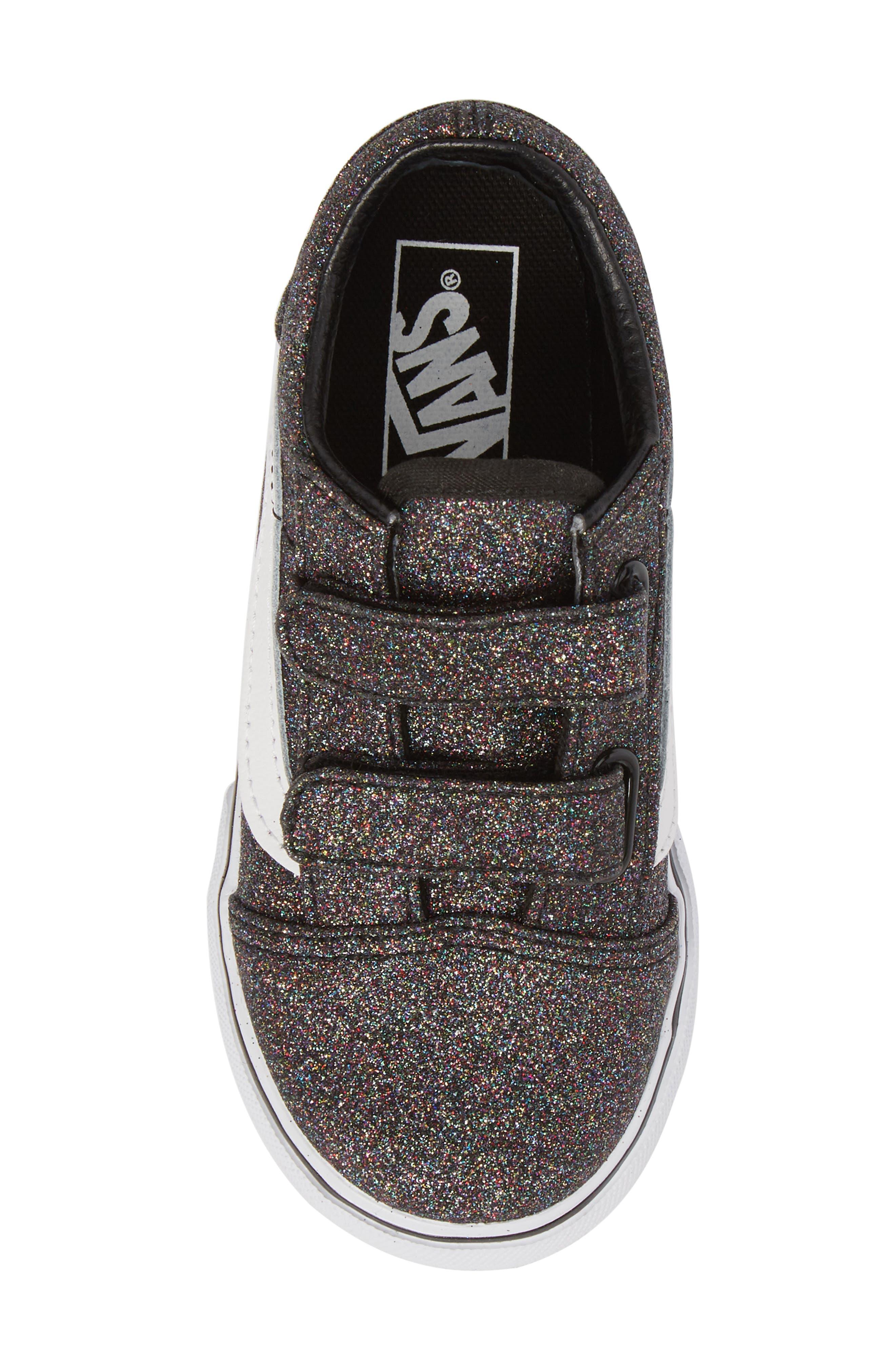 Old Skool V Glitter Sneaker,                             Alternate thumbnail 5, color,                             001