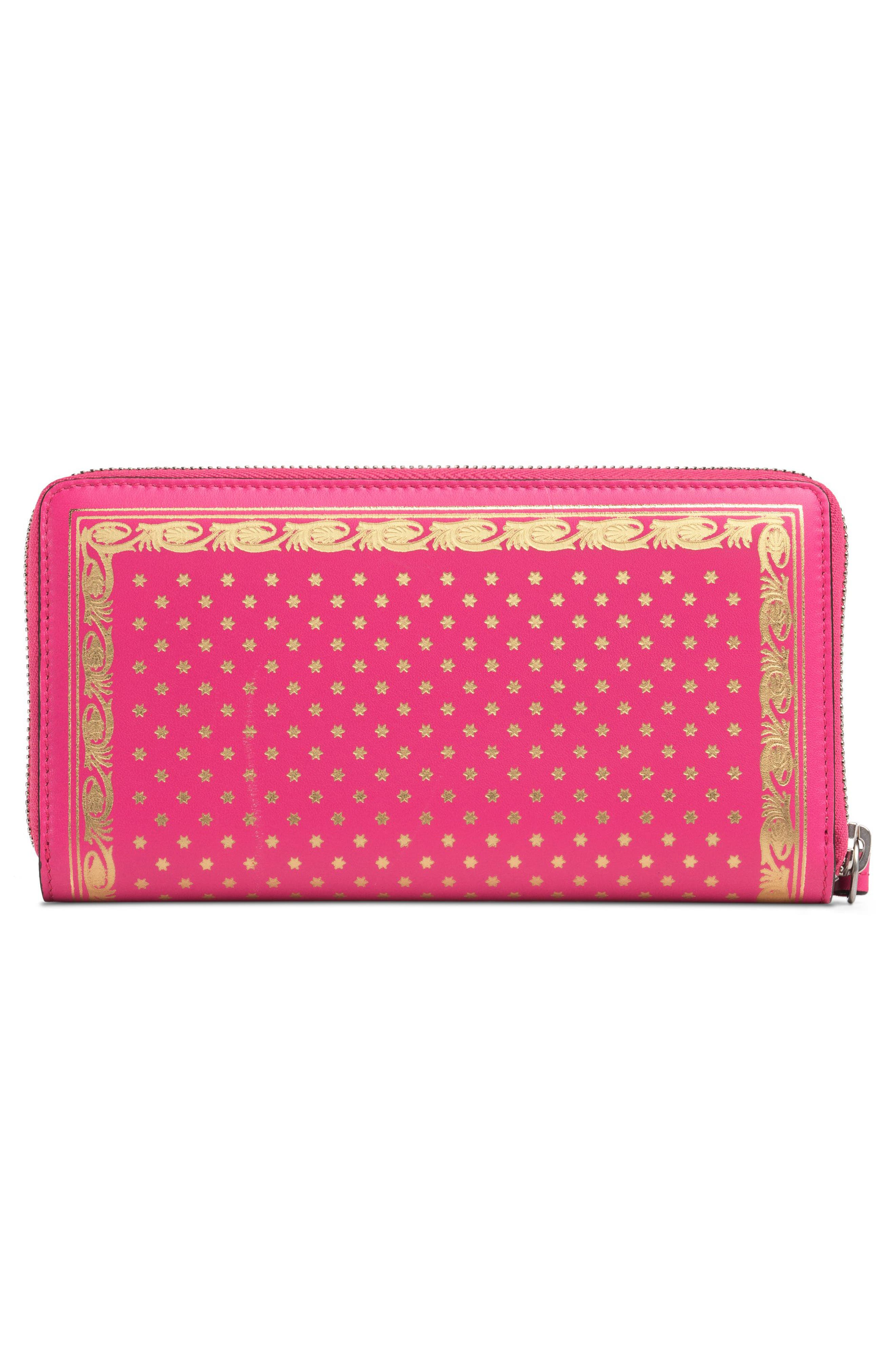 Guccy Moon & Stars Leather Zip Around Wallet,                             Alternate thumbnail 3, color,                             BRIGHT FUCSIA ORO