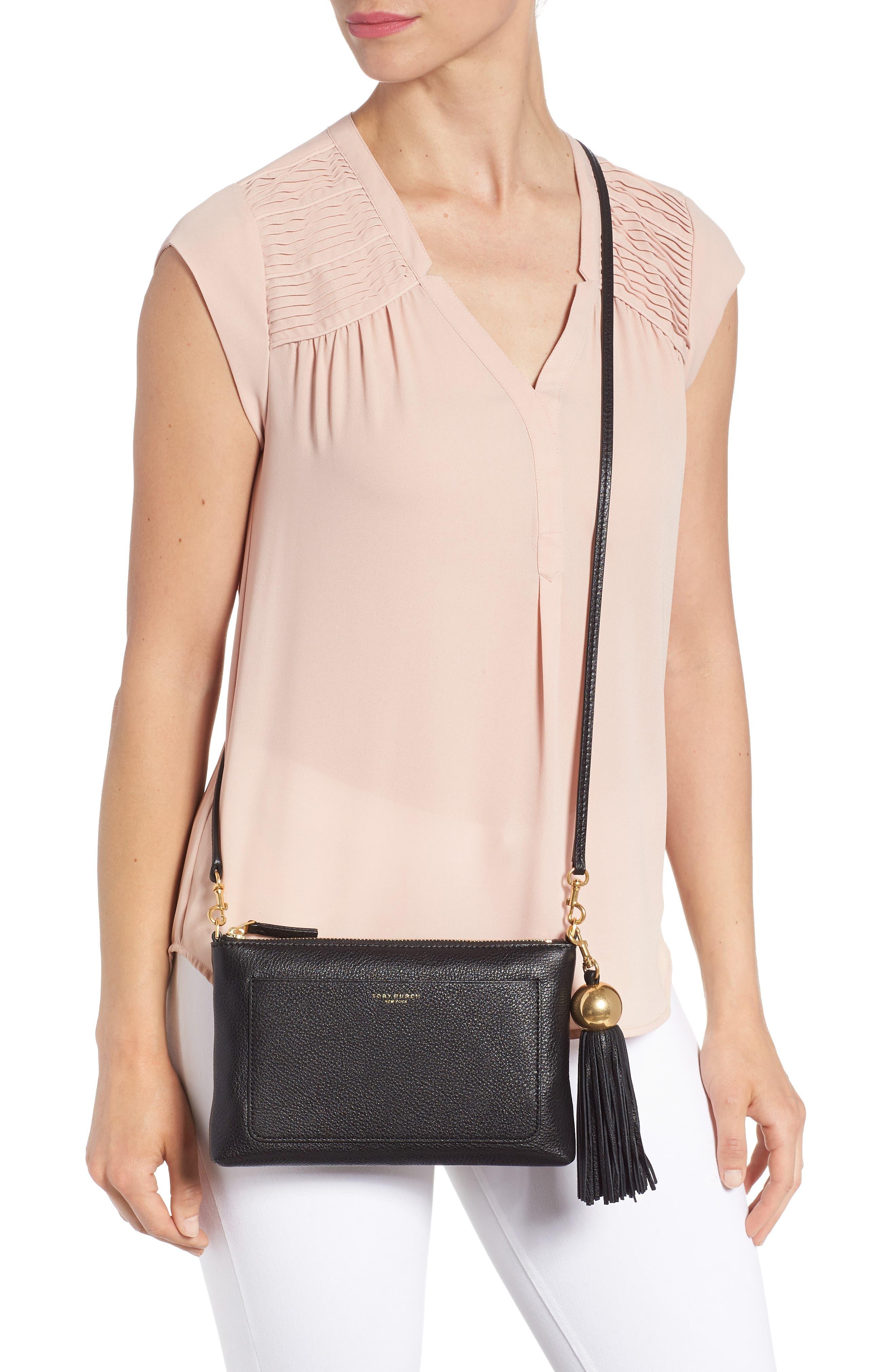 Tassel Leather Crossbody Bag,                             Alternate thumbnail 2, color,                             BLACK