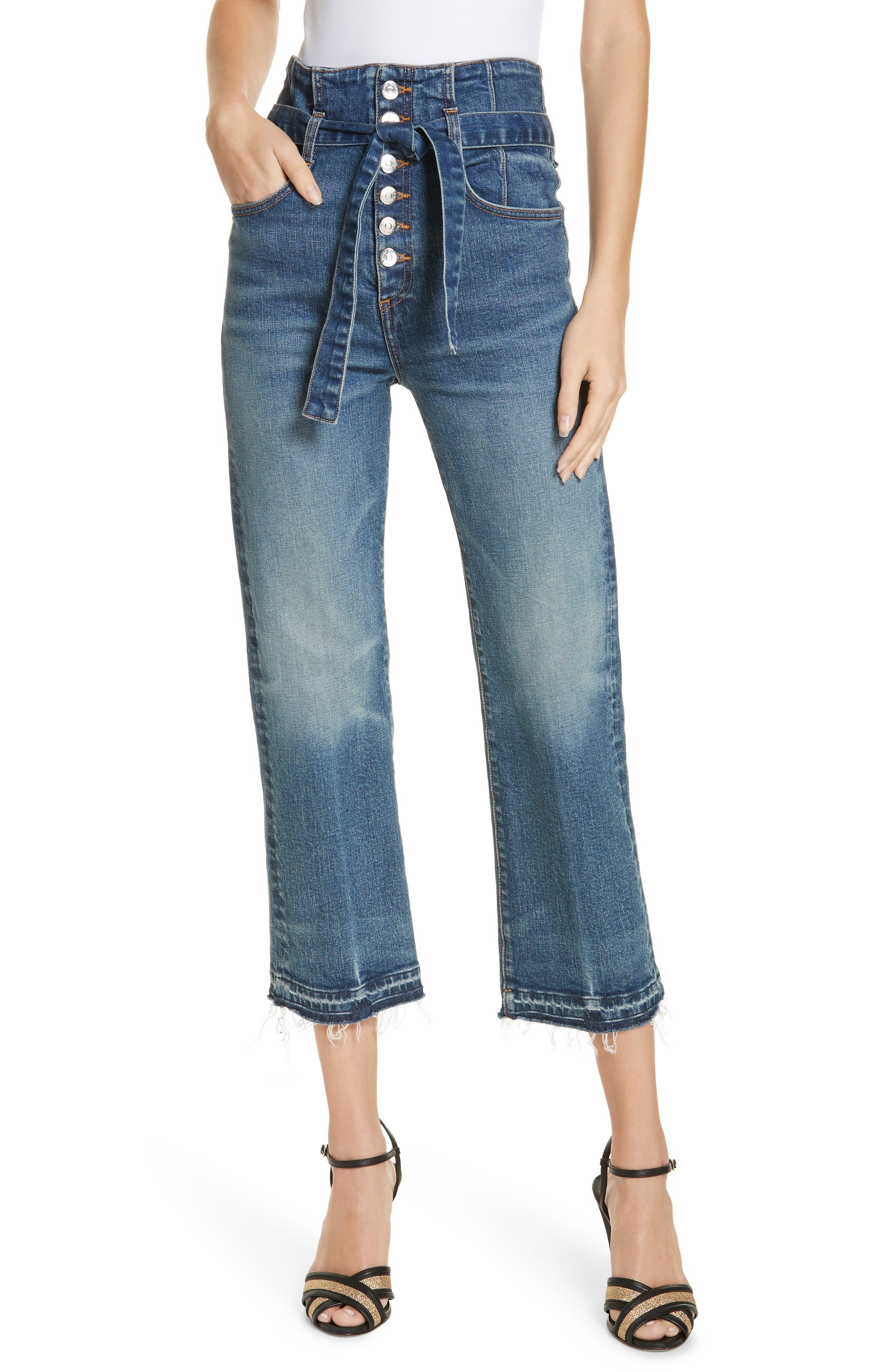 "Marlene 12"" Rise Corset Straight-Leg Cropped Jeans in Terrain"