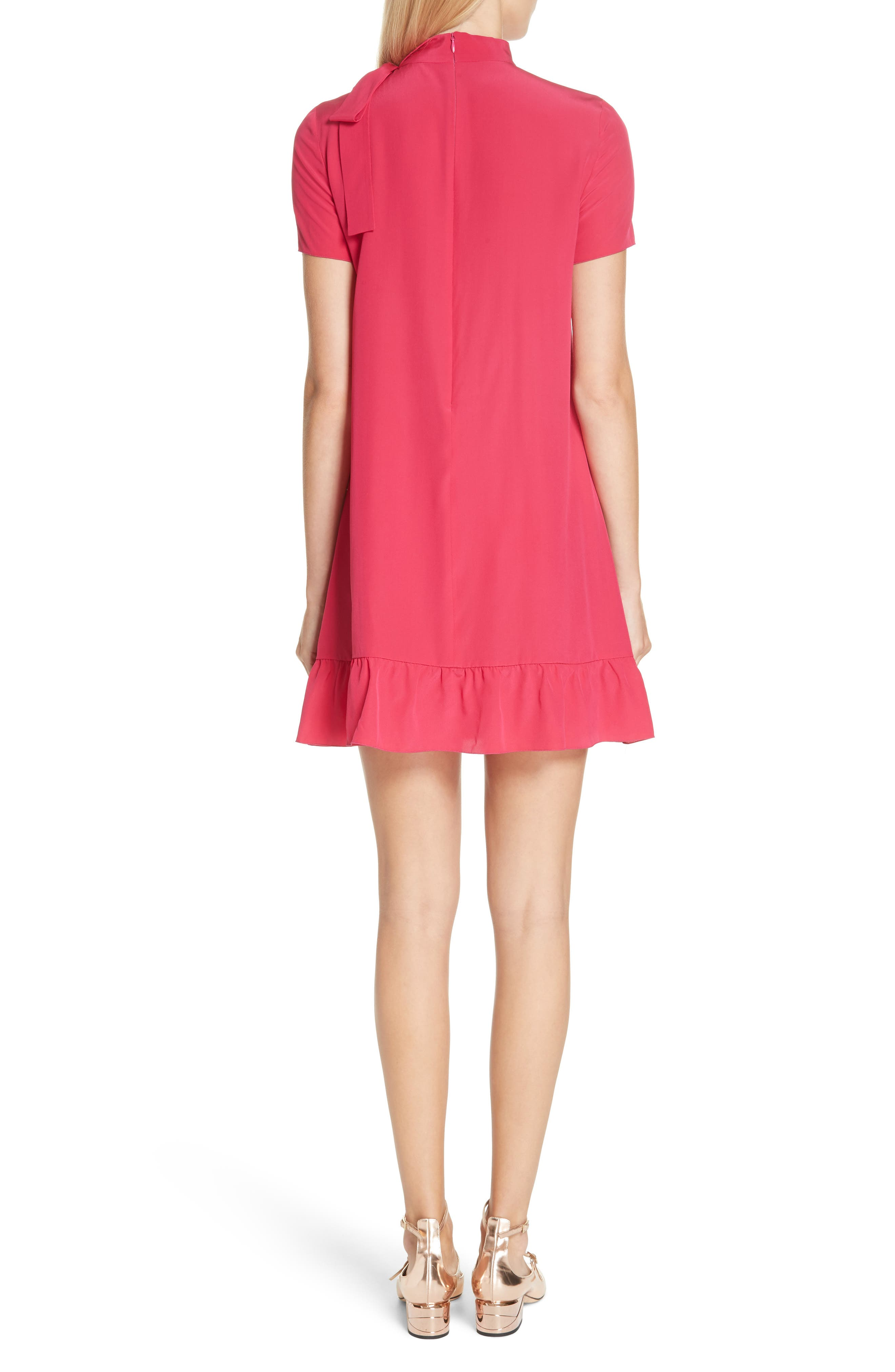 RED VALENTINO,                             Tie Neck Pleated Silk Dress,                             Alternate thumbnail 2, color,                             600