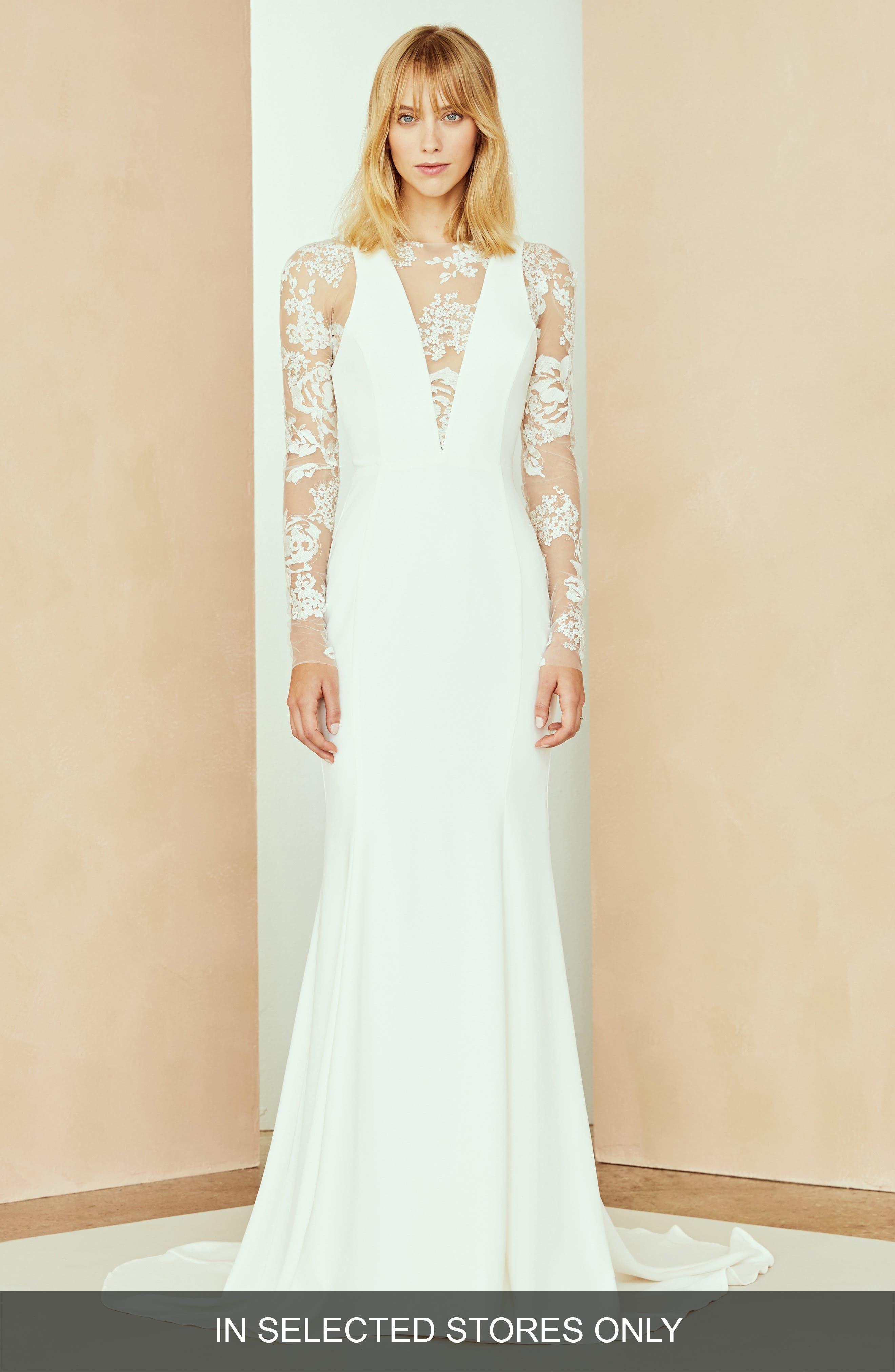 Nouvelle Amsale Ash Lace V-Neck Dress, Size - Ivory