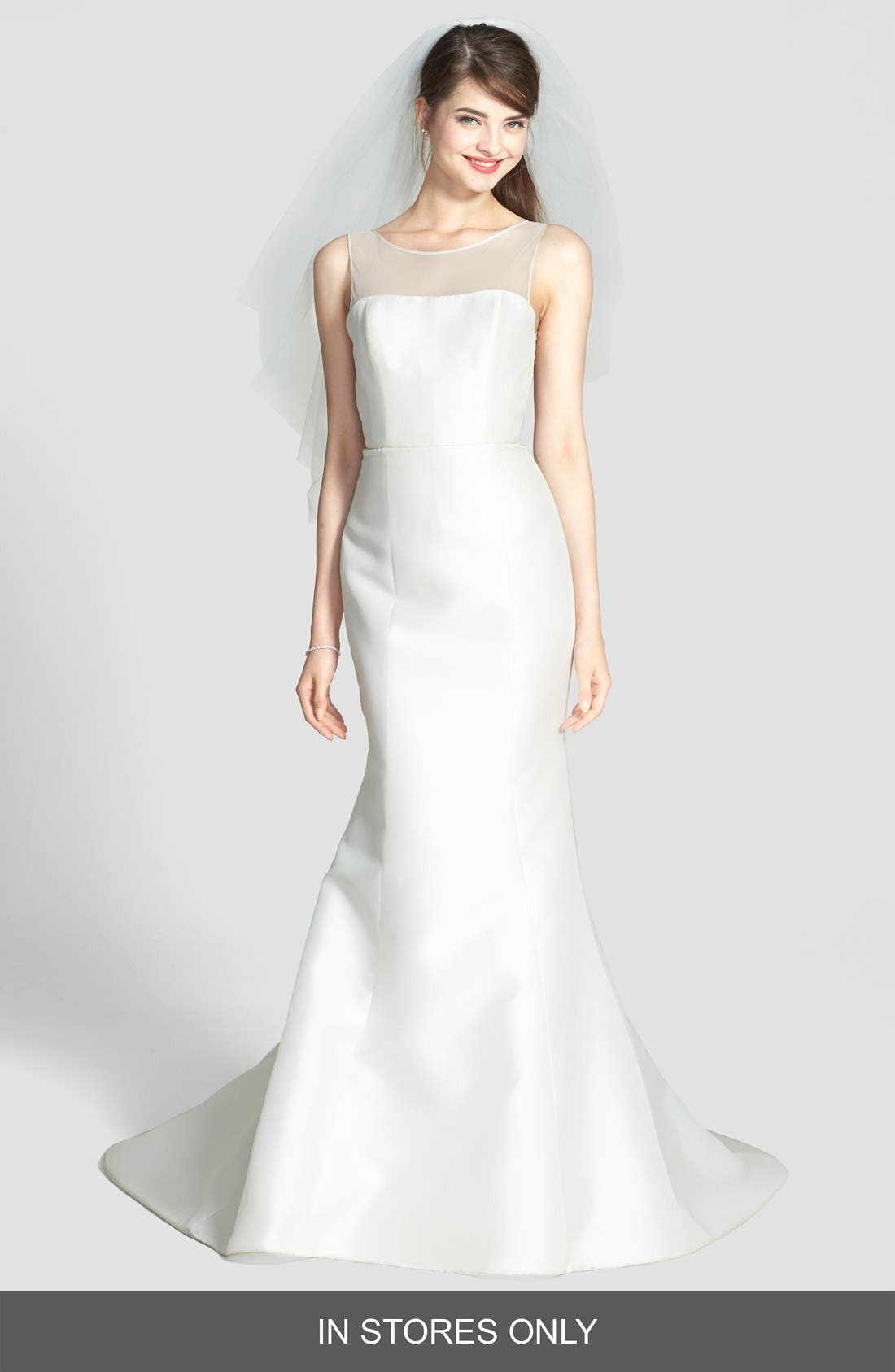 Preston Silk Magnolia Sheath Wedding Dress,                             Alternate thumbnail 5, color,                             IVORY