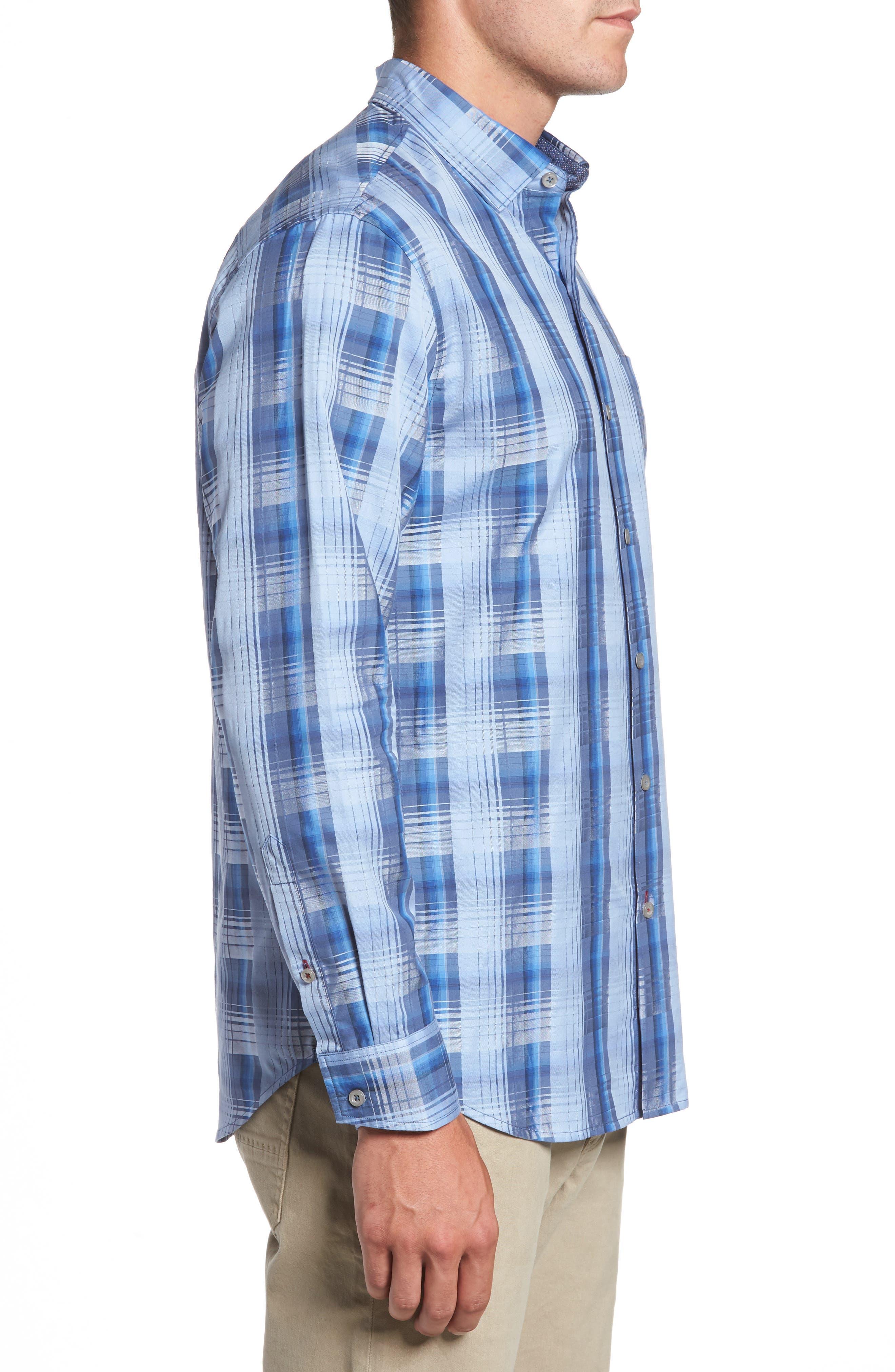 Shadow Ridge Check Cotton & Silk Sport Shirt,                             Alternate thumbnail 3, color,
