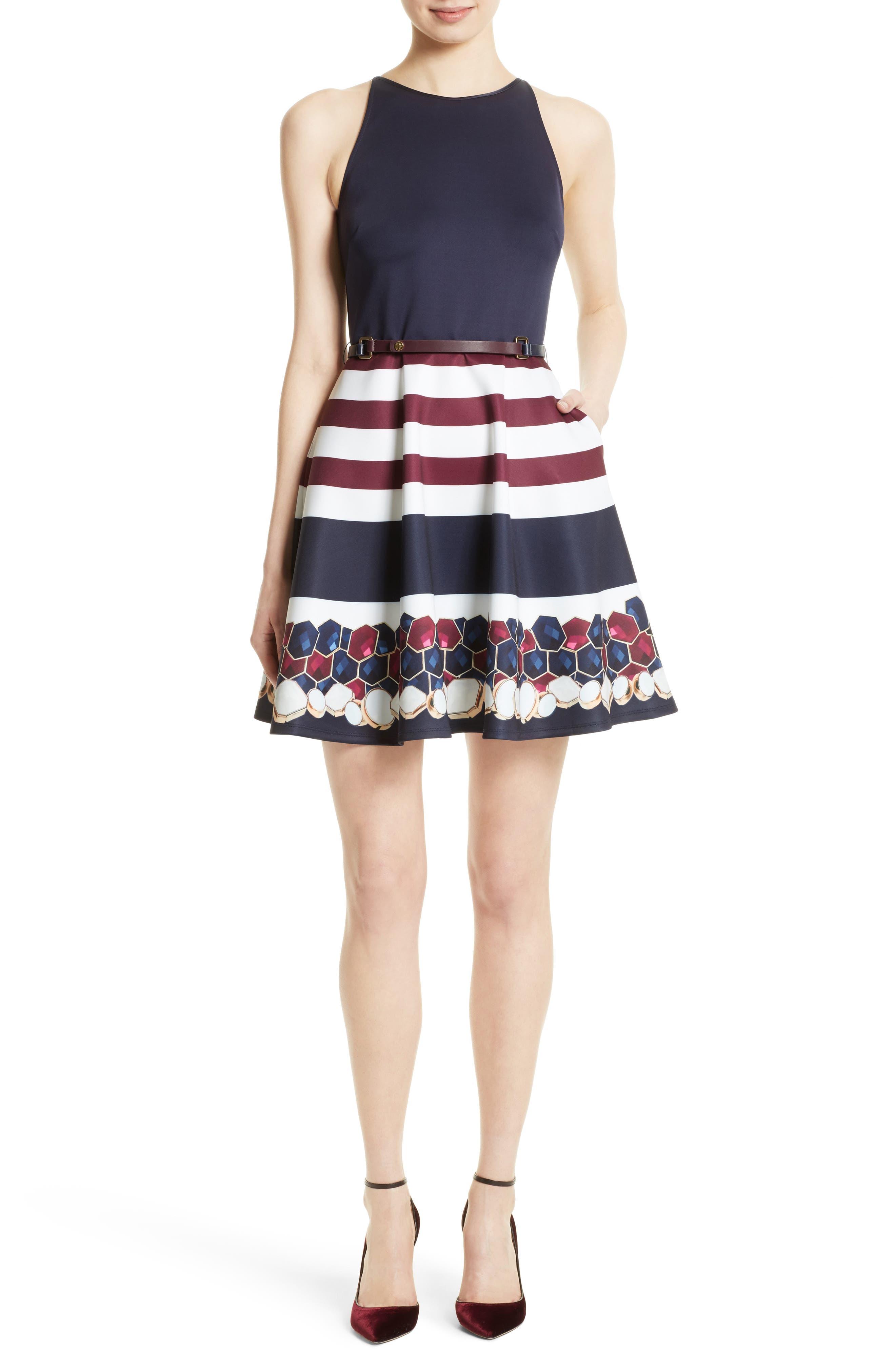 Rowing Stripe Skater Dress,                             Main thumbnail 1, color,                             410