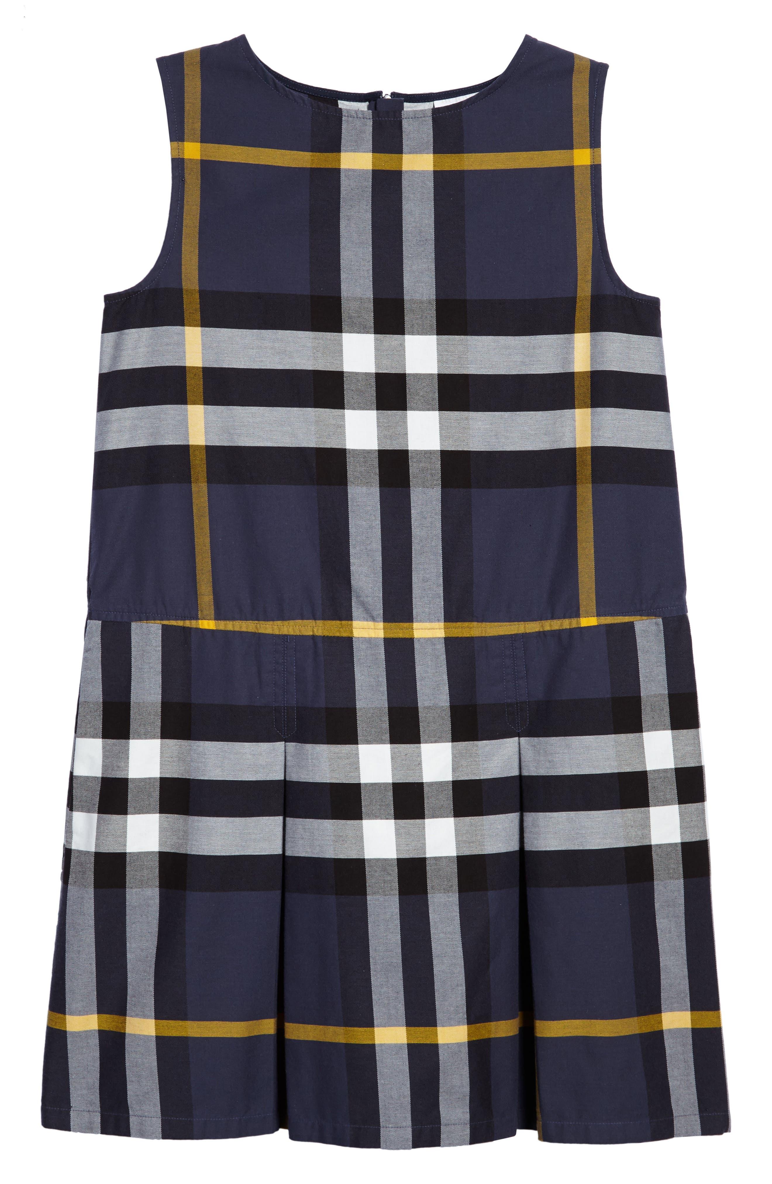 Dawny Check Print Sleeveless Dress,                         Main,                         color, 412