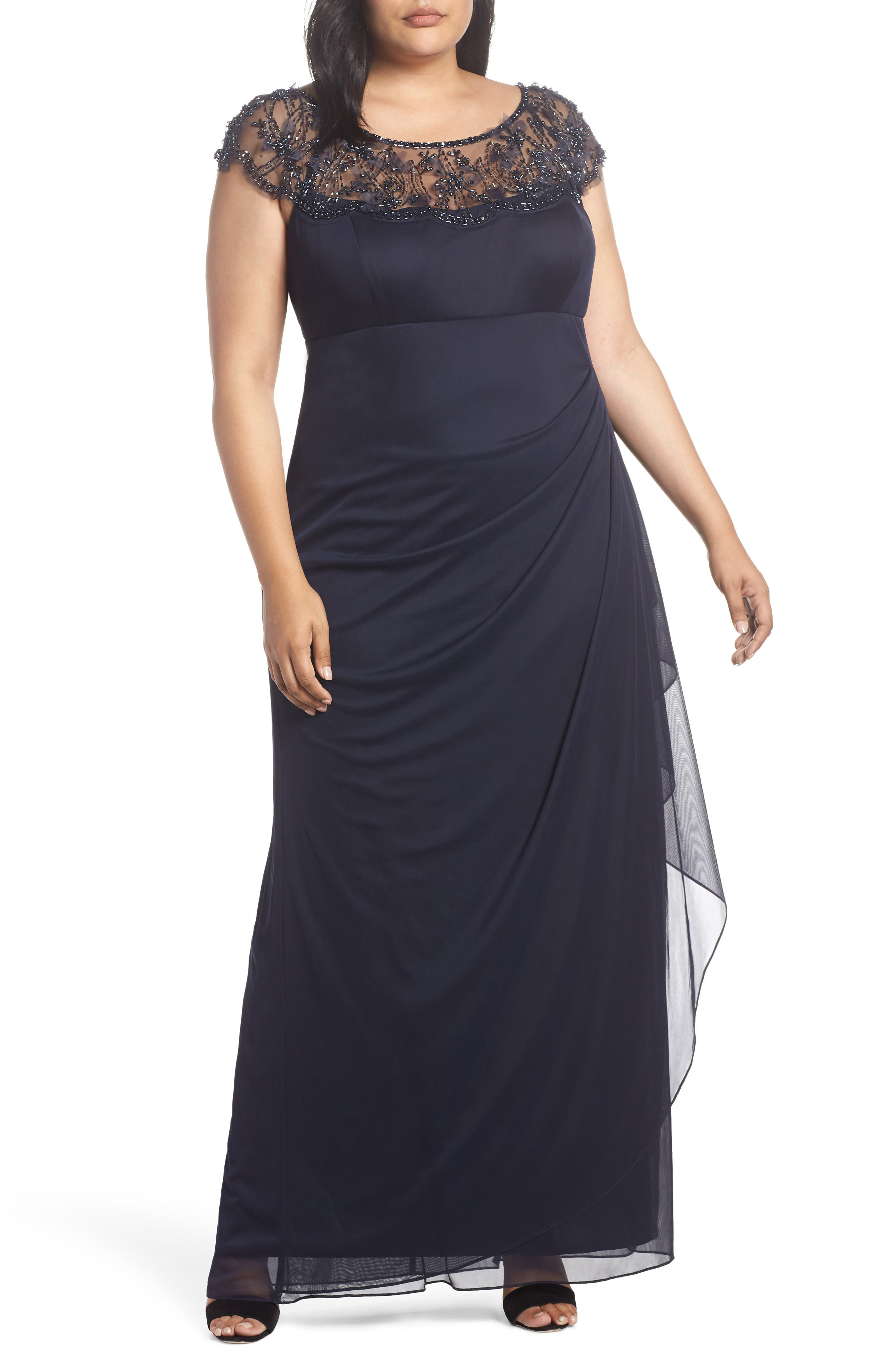 Ruched Side Beaded Gown,                             Main thumbnail 1, color,                             NAVY/ NAVY