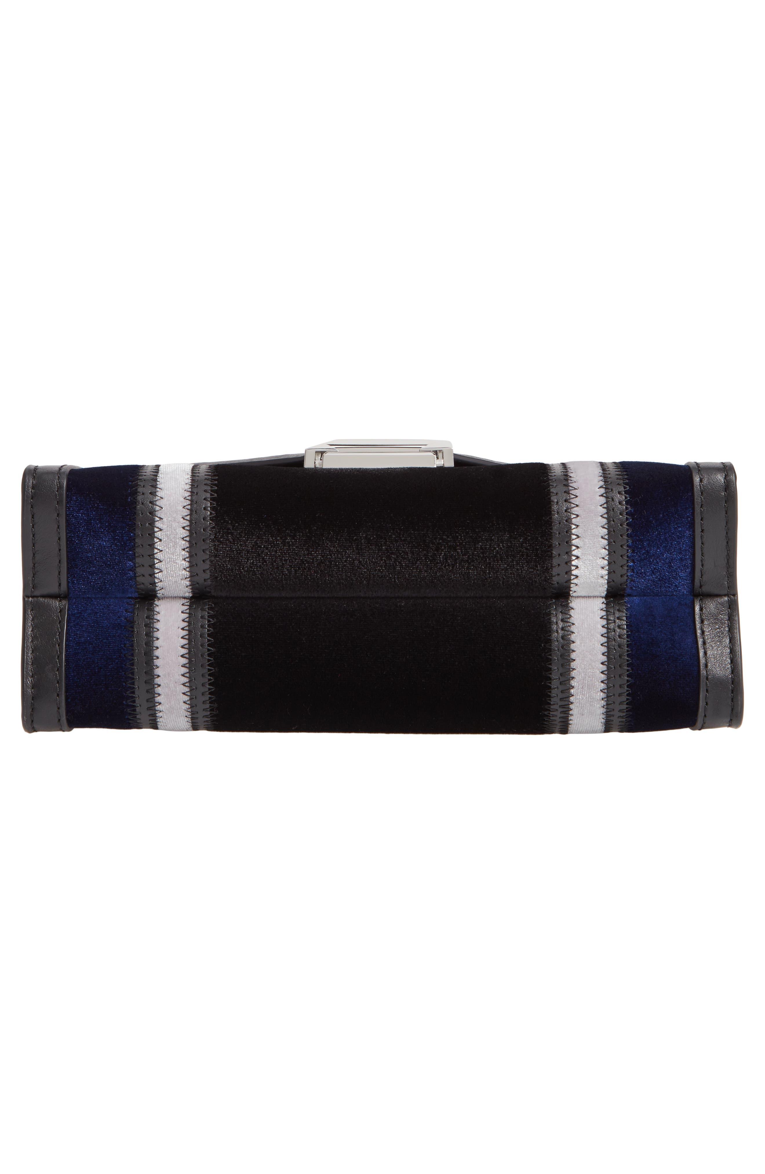 Large Velvet Shoulder Bag,                             Alternate thumbnail 6, color,                             BLACK/ DARK BLUE
