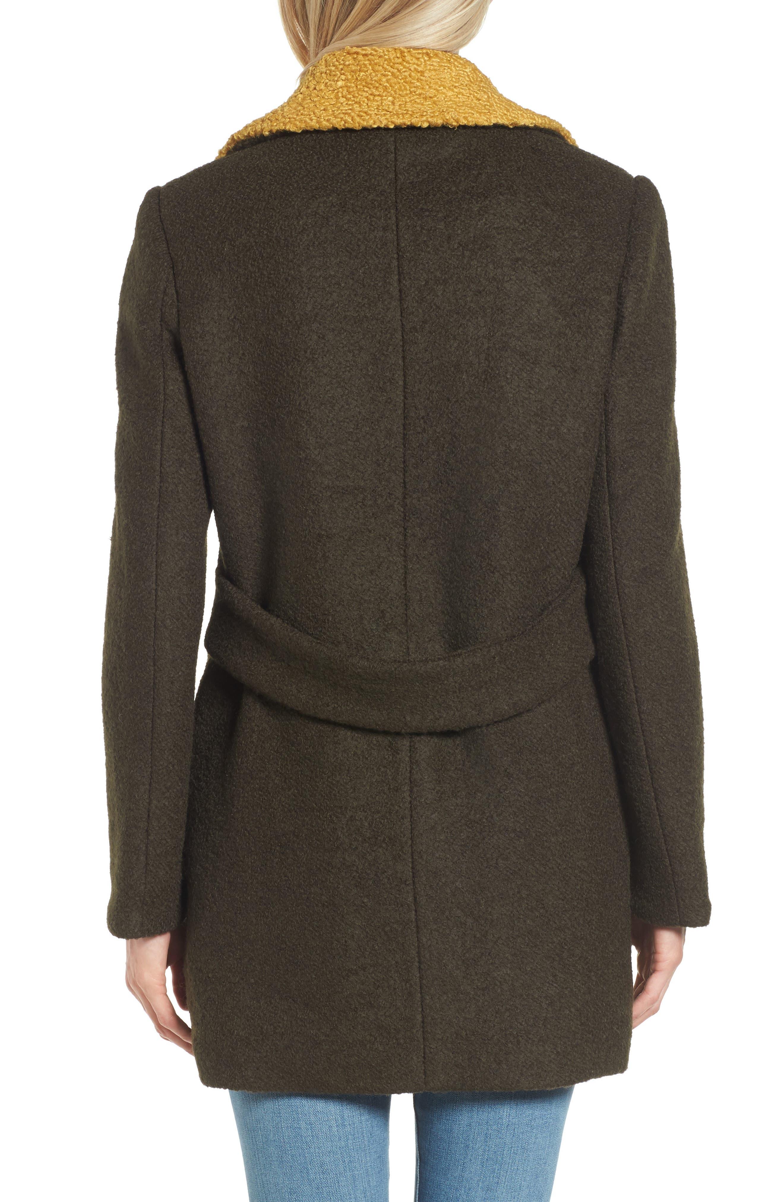 Contrast Collar Bouclé Coat,                             Alternate thumbnail 5, color,