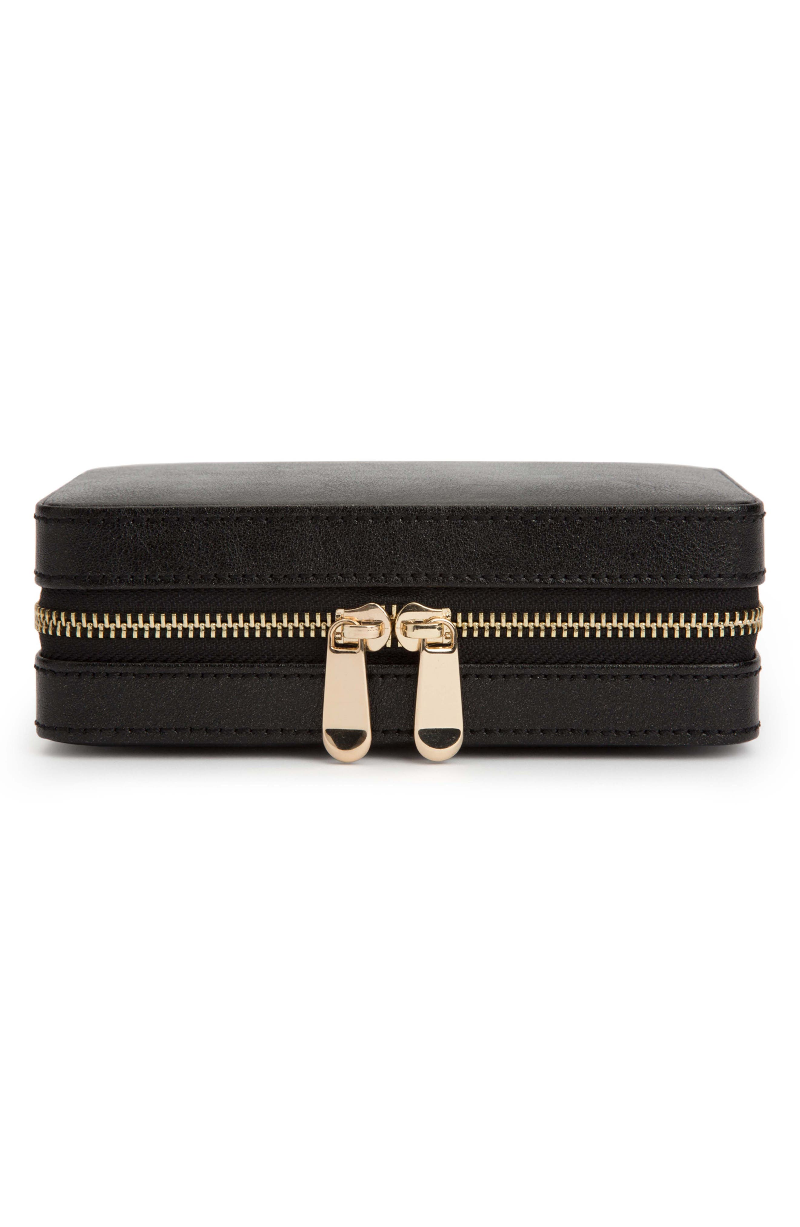 Palermo Zip Jewelry Case,                             Main thumbnail 1, color,                             BLACK