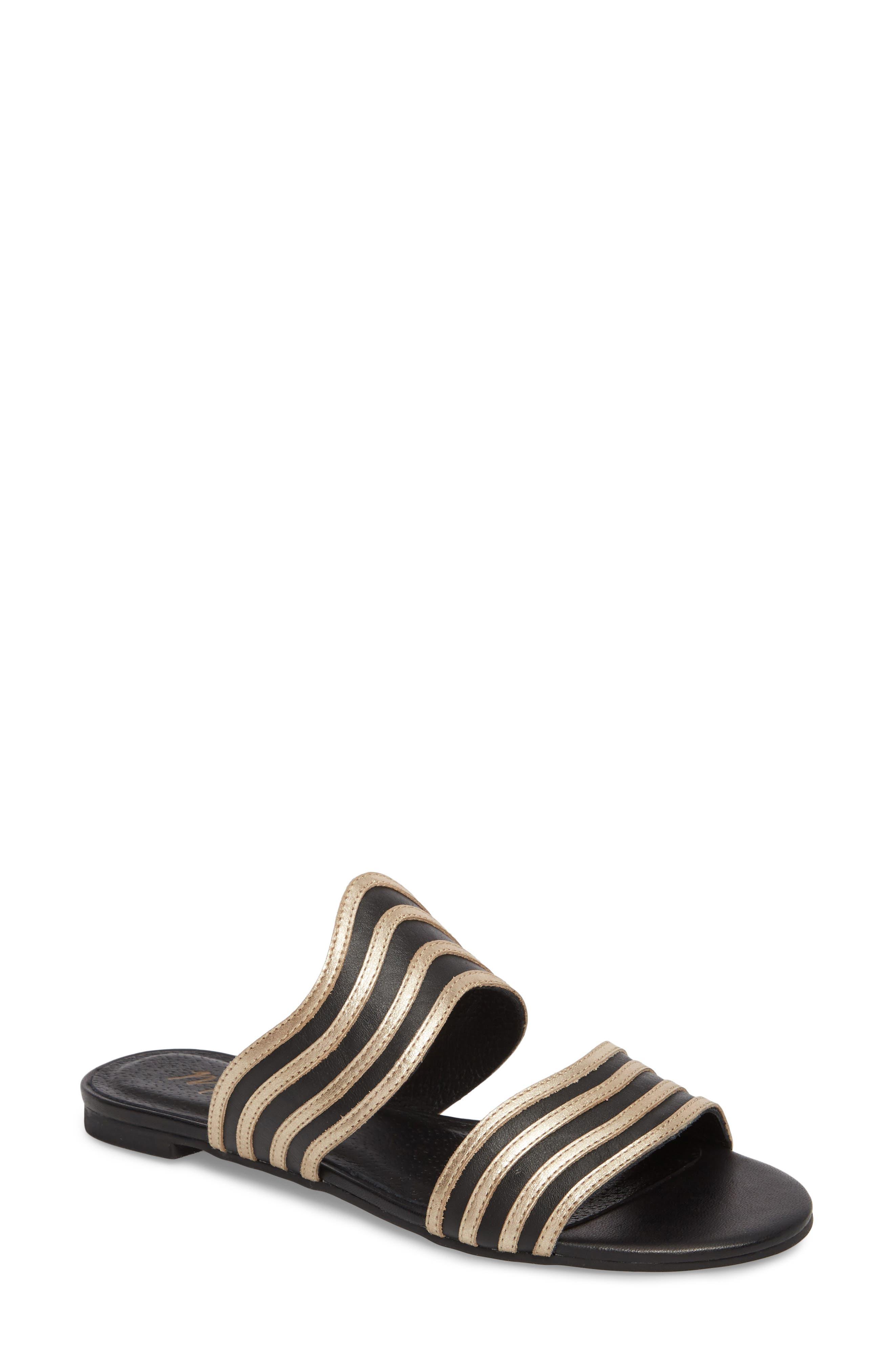 Russo Slide Sandal,                         Main,                         color, BLACK/ GOLD LEATHER