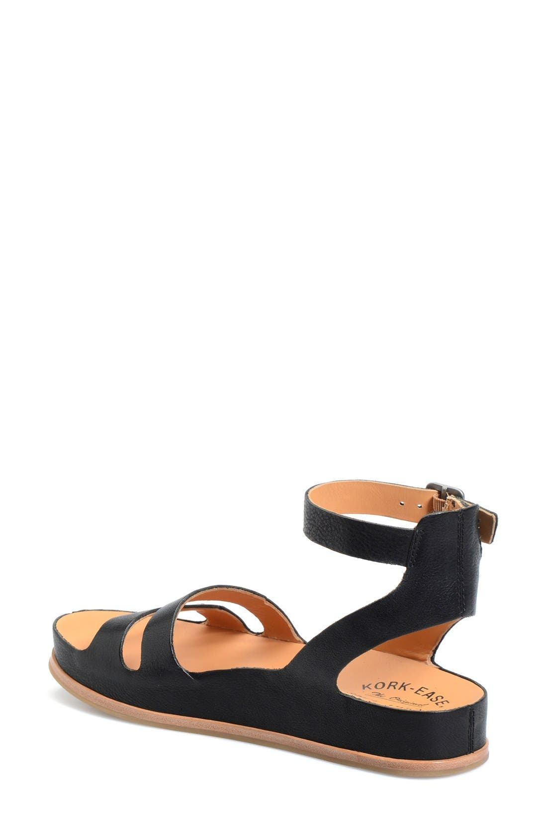'Audrina' Ankle Strap Sandal,                             Alternate thumbnail 2, color,                             BLACK LEATHER